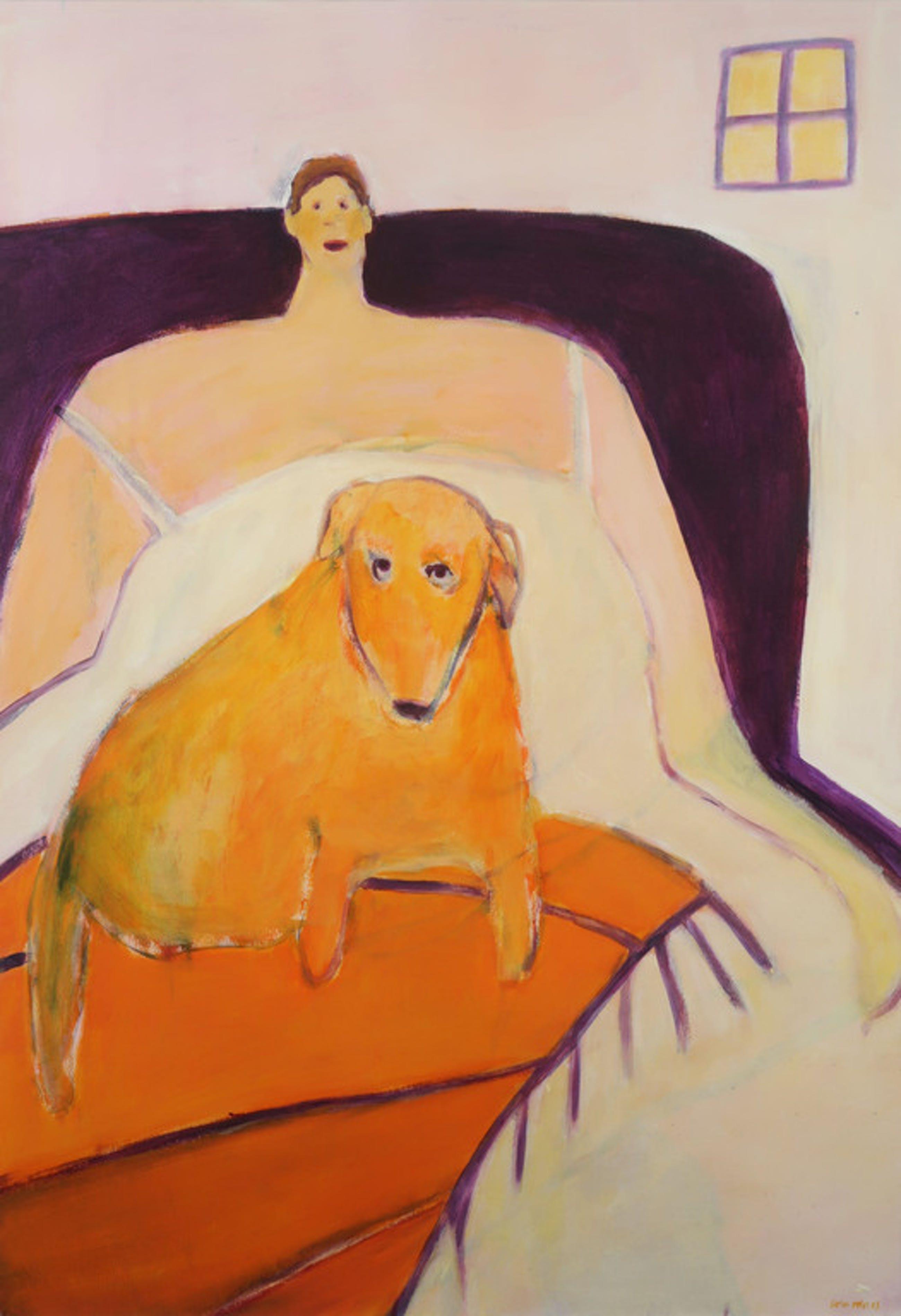 Cora Vries: Acryl op papier, Oranje hond - Ingelijst (Groot!) kopen? Bied vanaf 70!