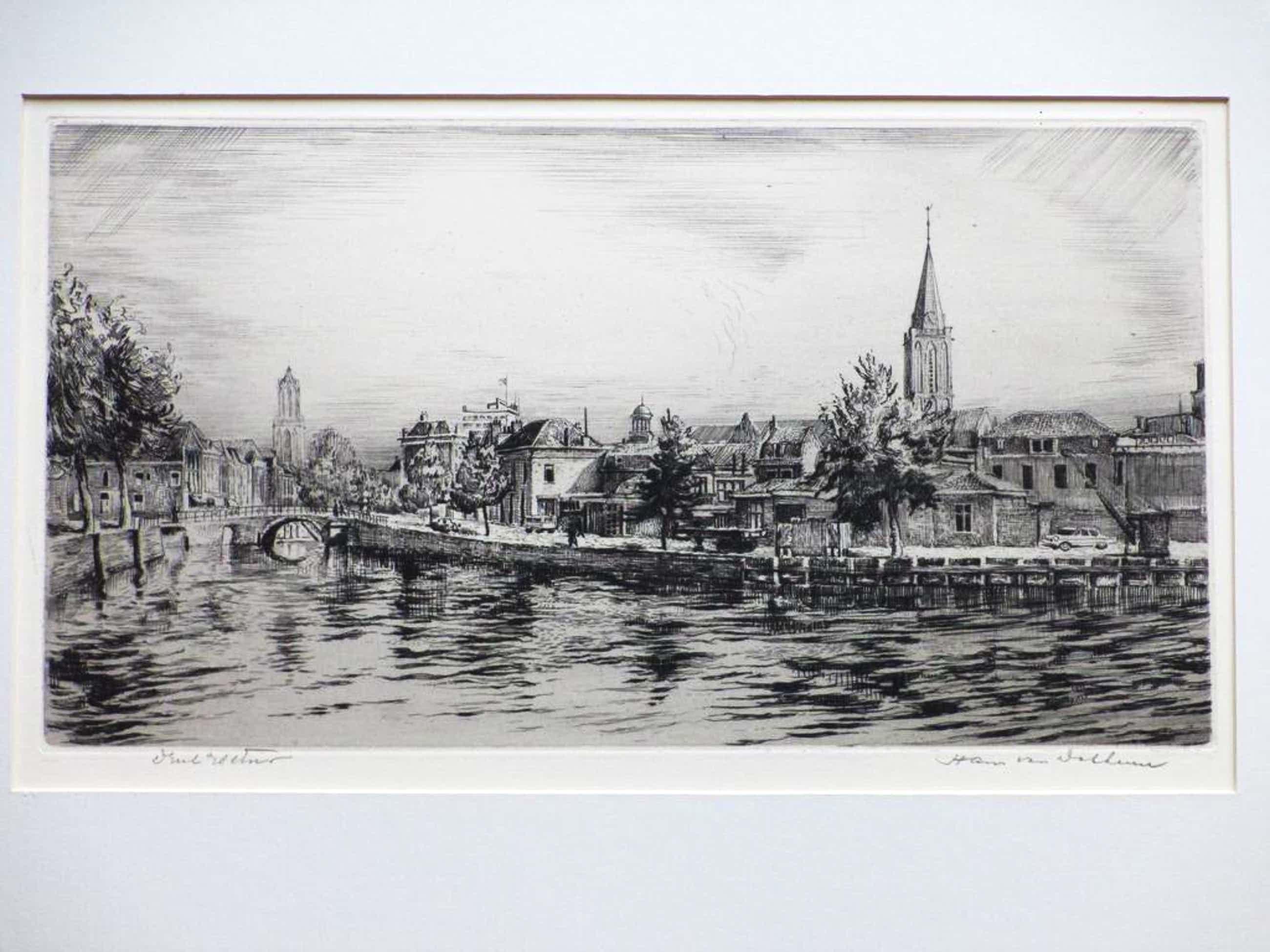 Hans van Dokkum, Utrecht vanaf de gracht, Ets kopen? Bied vanaf 40!