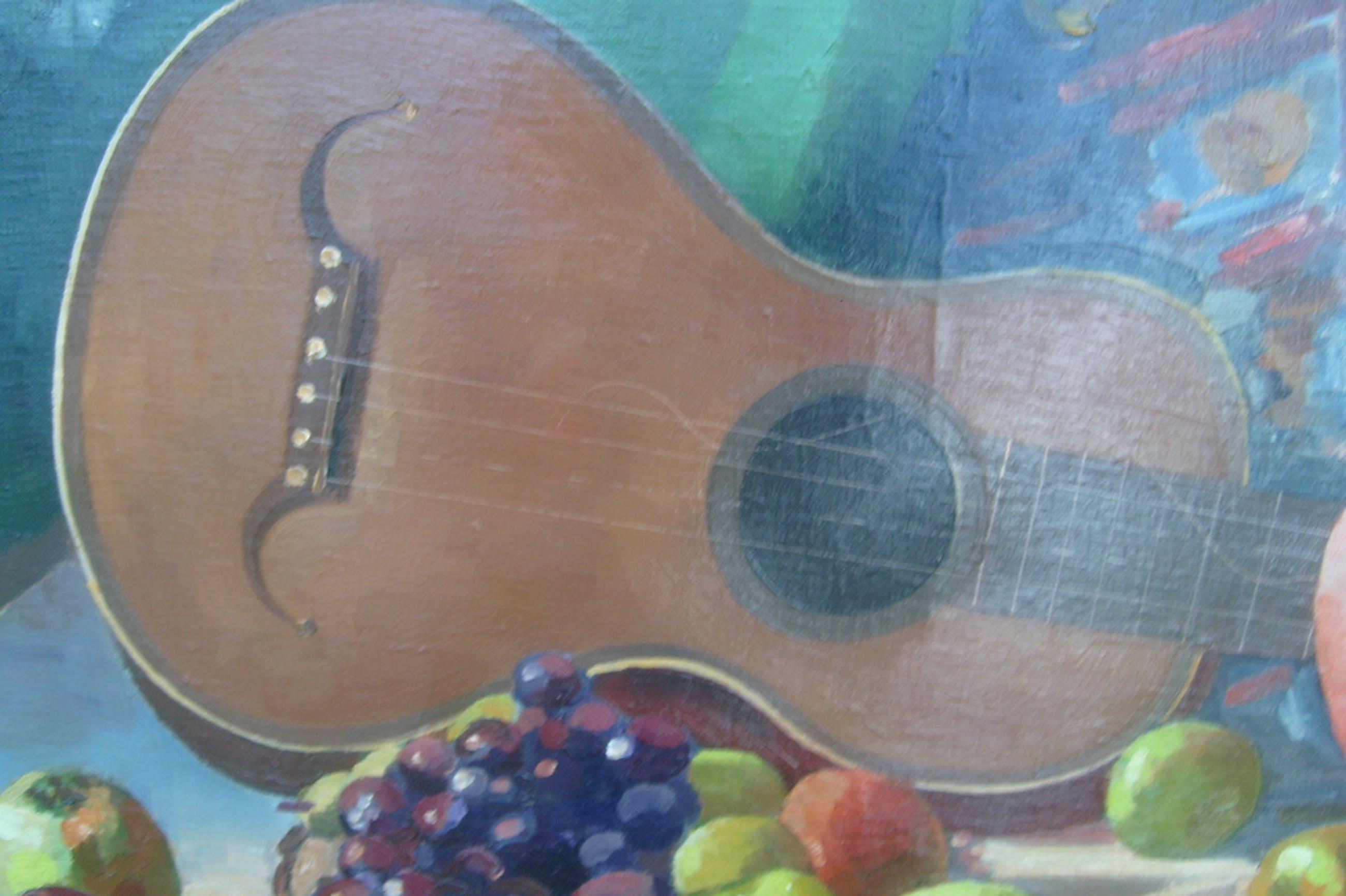 Johan ( Jo) Jacob Voskuil,stilleven met gitaar, olieverf op linnen kopen? Bied vanaf 75!