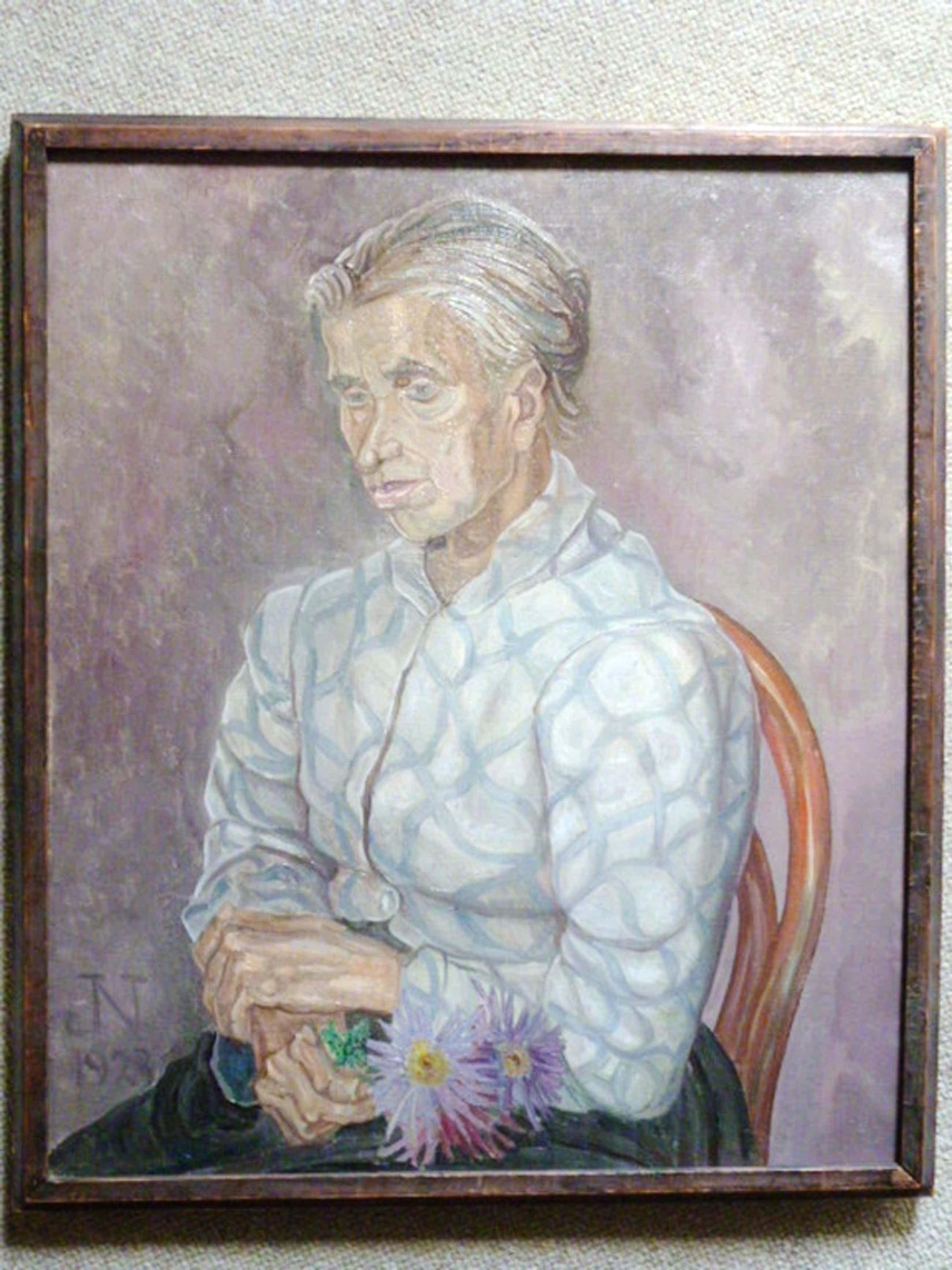 Jaap Nieweg - olieverf - Portret van een boerin kopen? Bied vanaf 395!