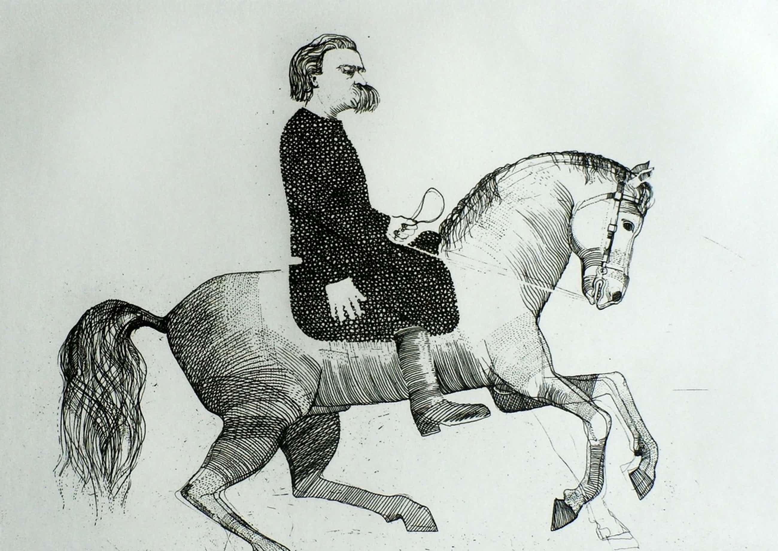 Aat verhoog - ets: heer op paard - 1971 kopen? Bied vanaf 75!