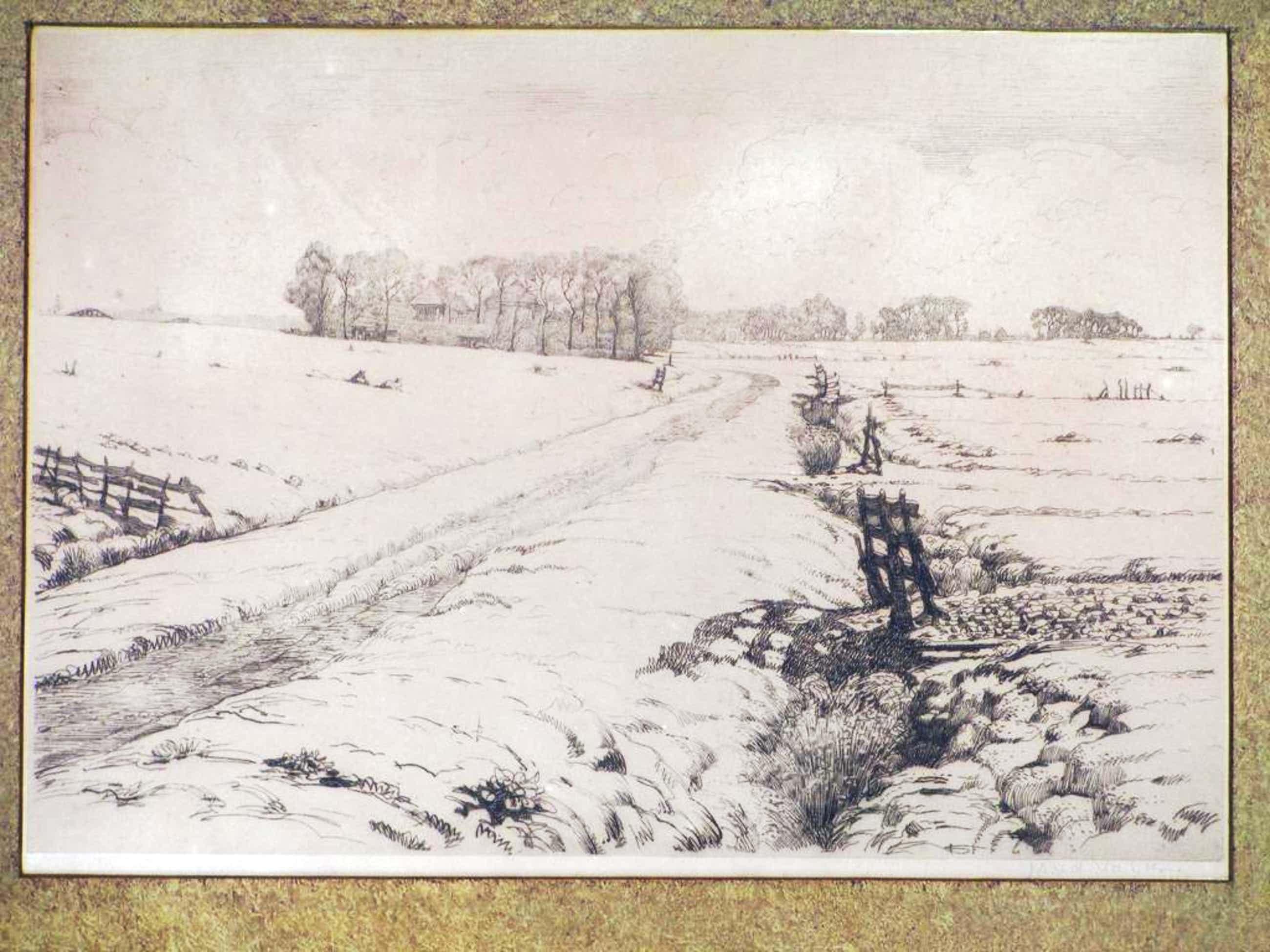 Maurits van der Valk, Polderlandschap in de sneeuw,  Ets kopen? Bied vanaf 50!