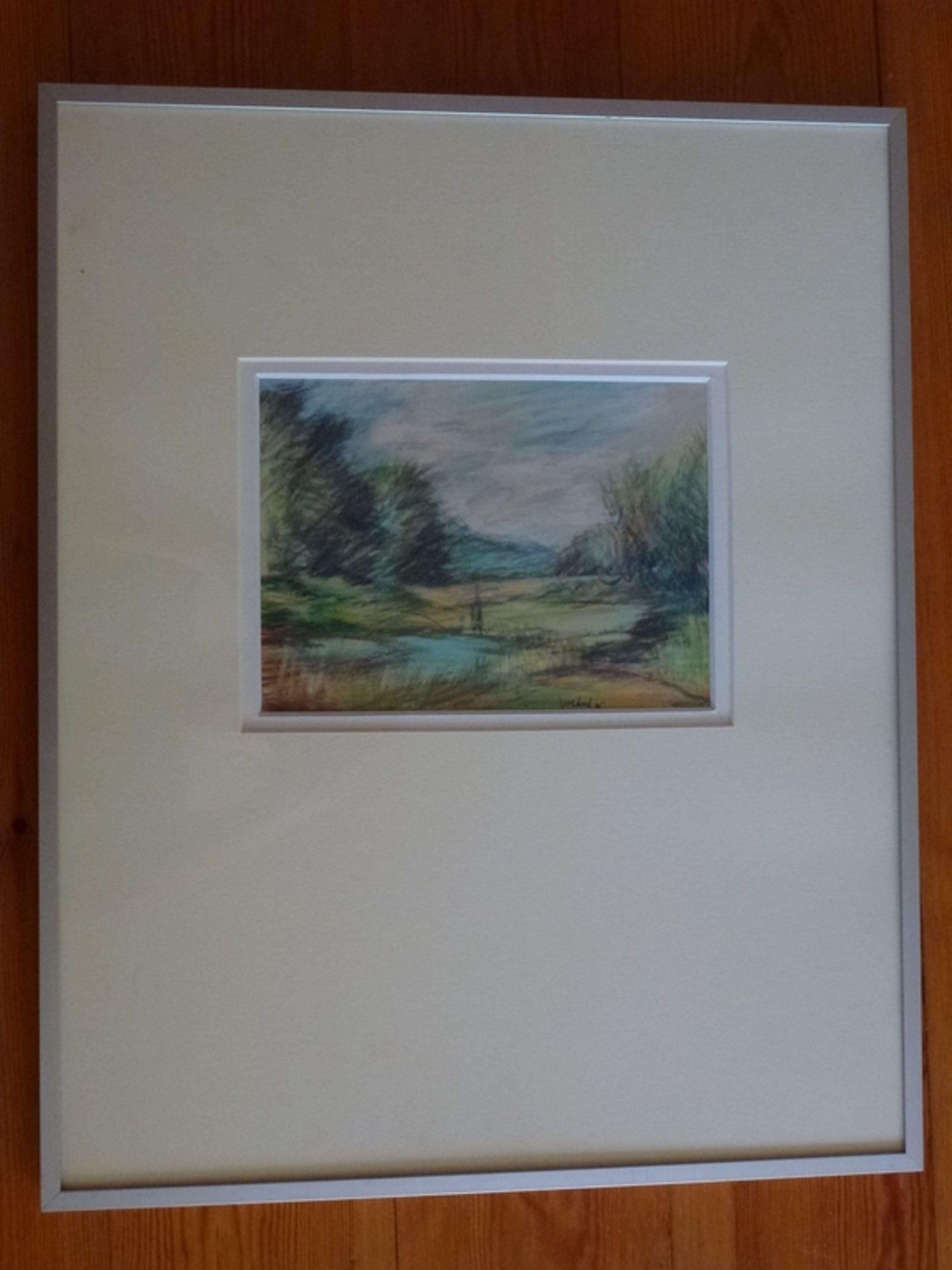 Meinert Volkers, kleurtekening, landschap 1985 kopen? Bied vanaf 45!