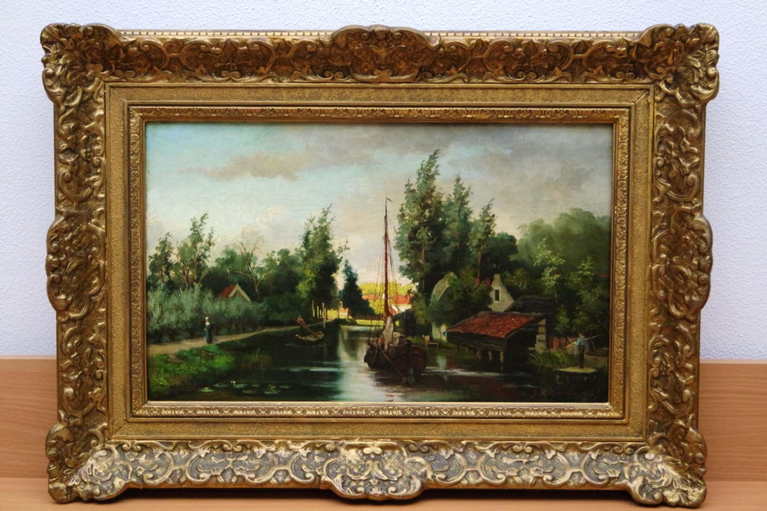 Jan Hillebrand WIJSMULLER (1855-1925) - olieverf op doek- landschap met zeilboot kopen? Bied vanaf 599!
