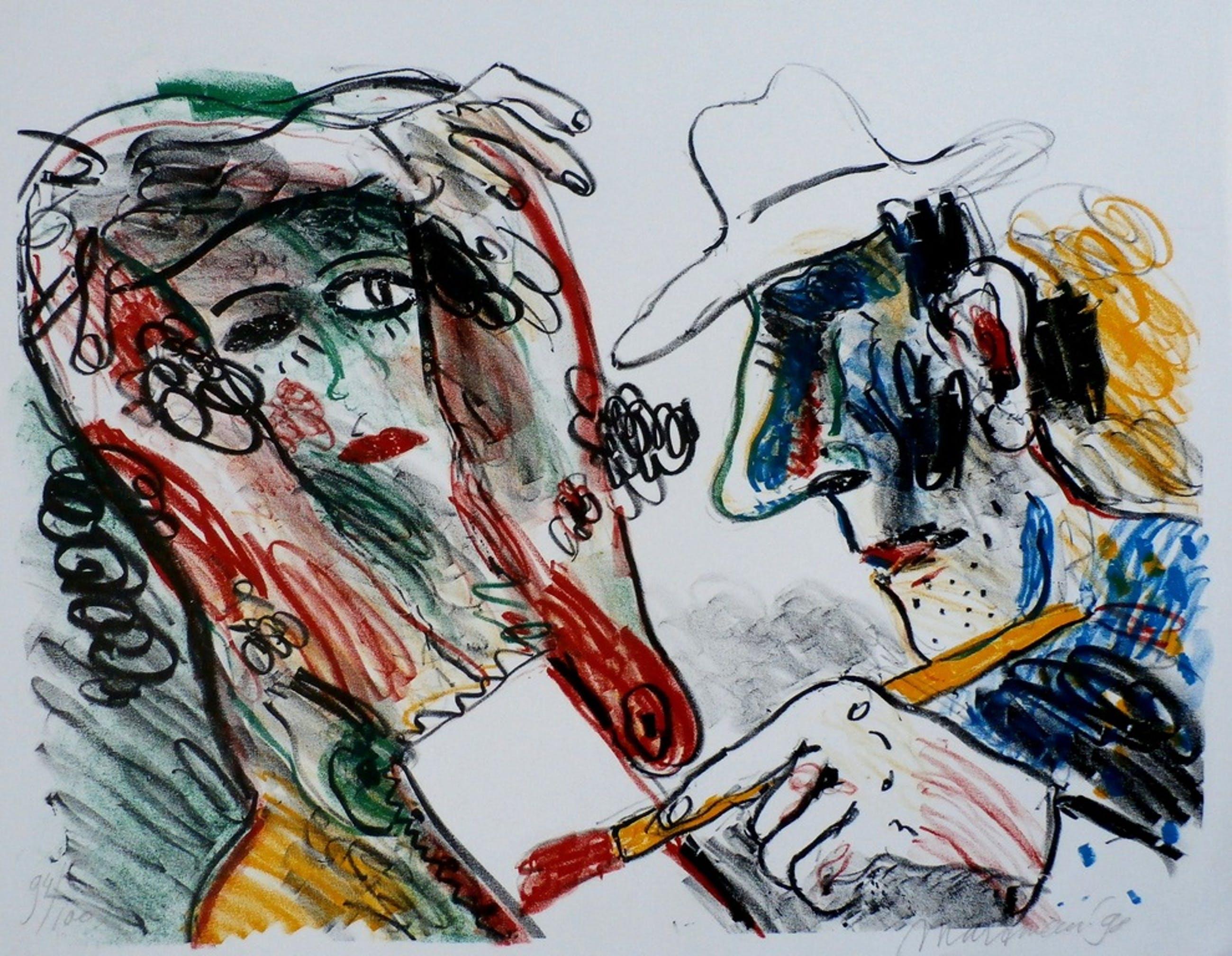 Anton Martineau - zeefdruk: de schilder en zijn model kopen? Bied vanaf 80!
