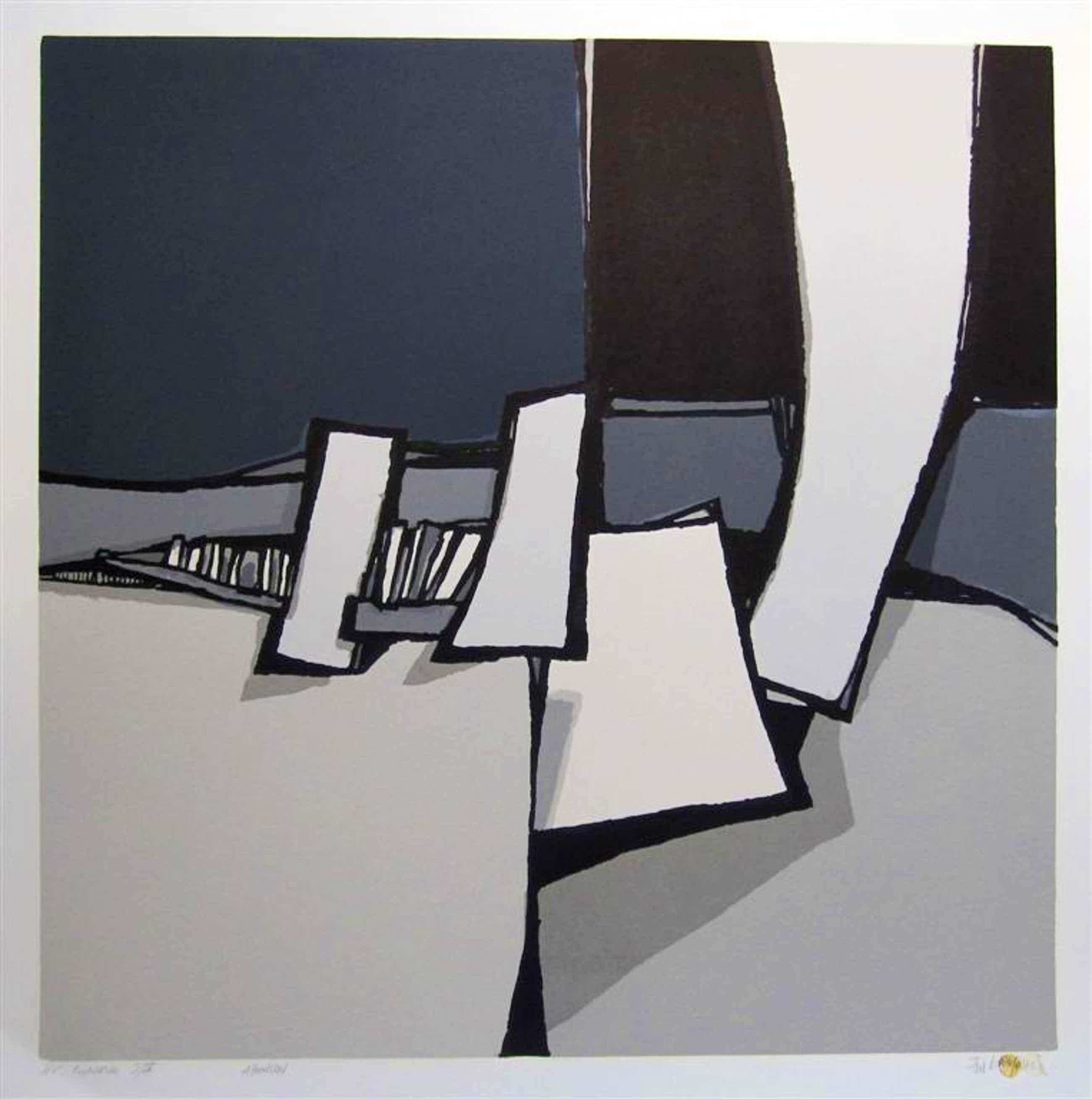 Fon Klement - Fon Klement, boardsneden uit 1975 beeldformaat 90 x 90 cm. titel: Abandon kopen? Bied vanaf 175!