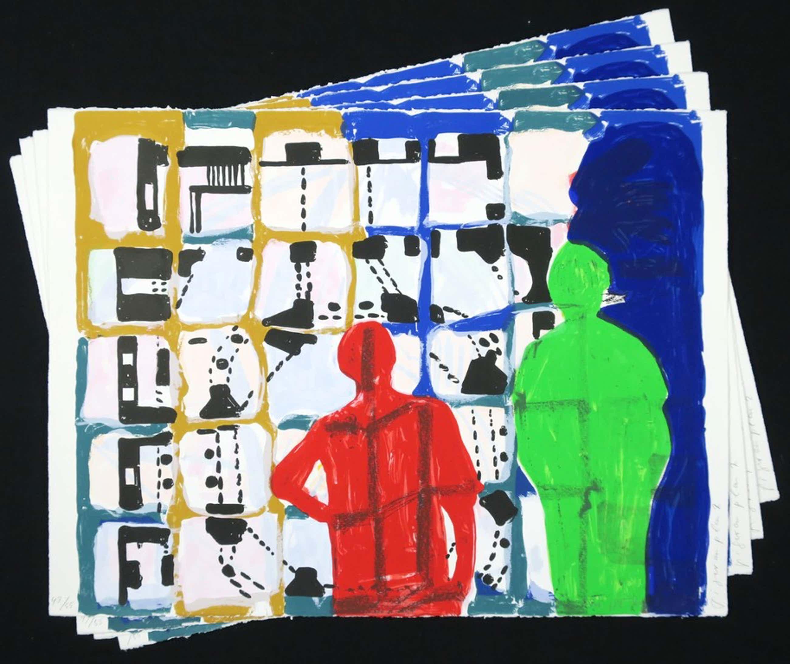 Cees Dolk: Lot met 4 zeefdrukken, Figurenplan 2 kopen? Bied vanaf 45!