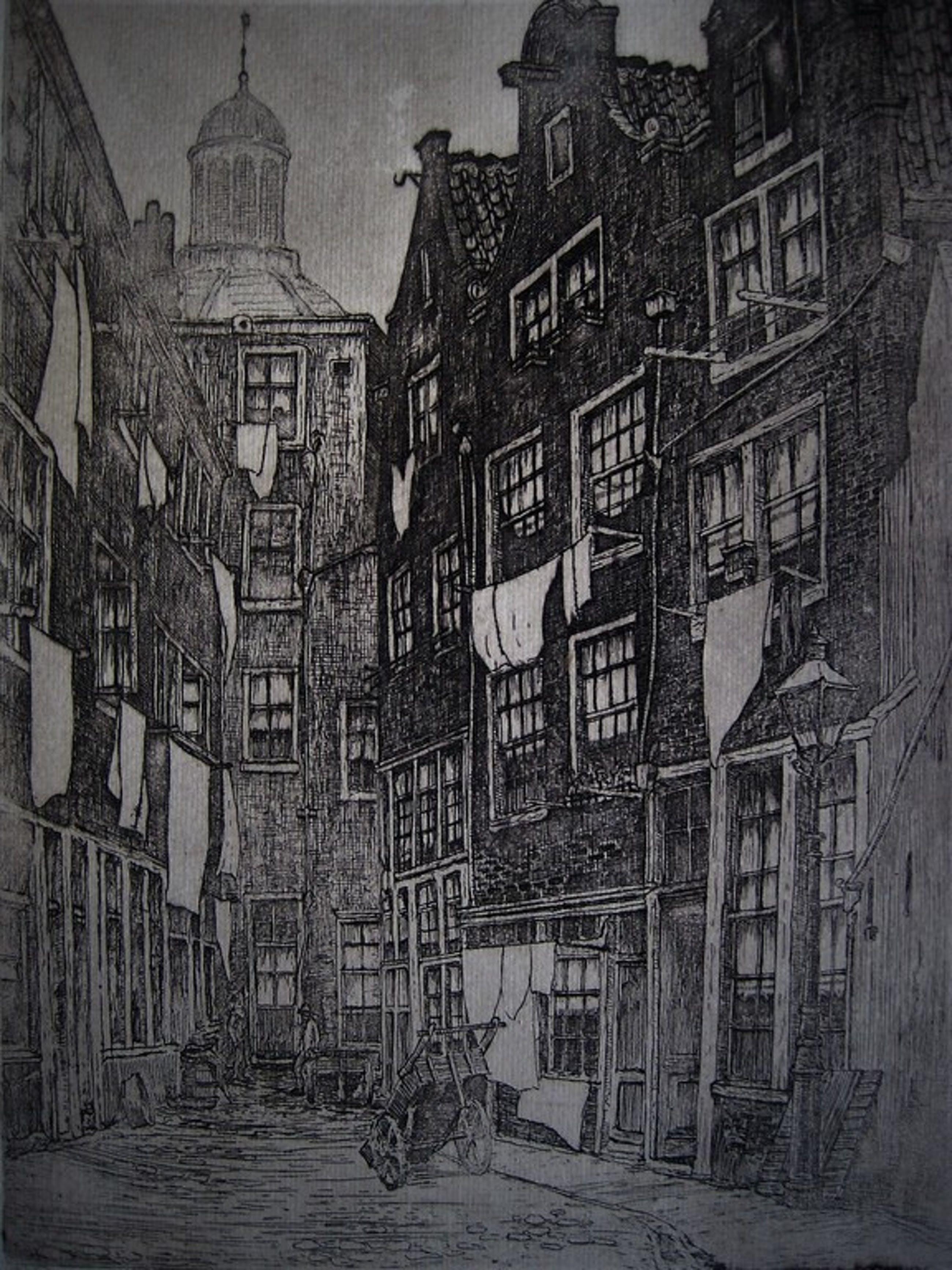 """Sfeervolle gesigneerde ets """"Amsterdam de Bijlsteeg"""" van Marius Janssen 1887-1957 kopen? Bied vanaf 1!"""