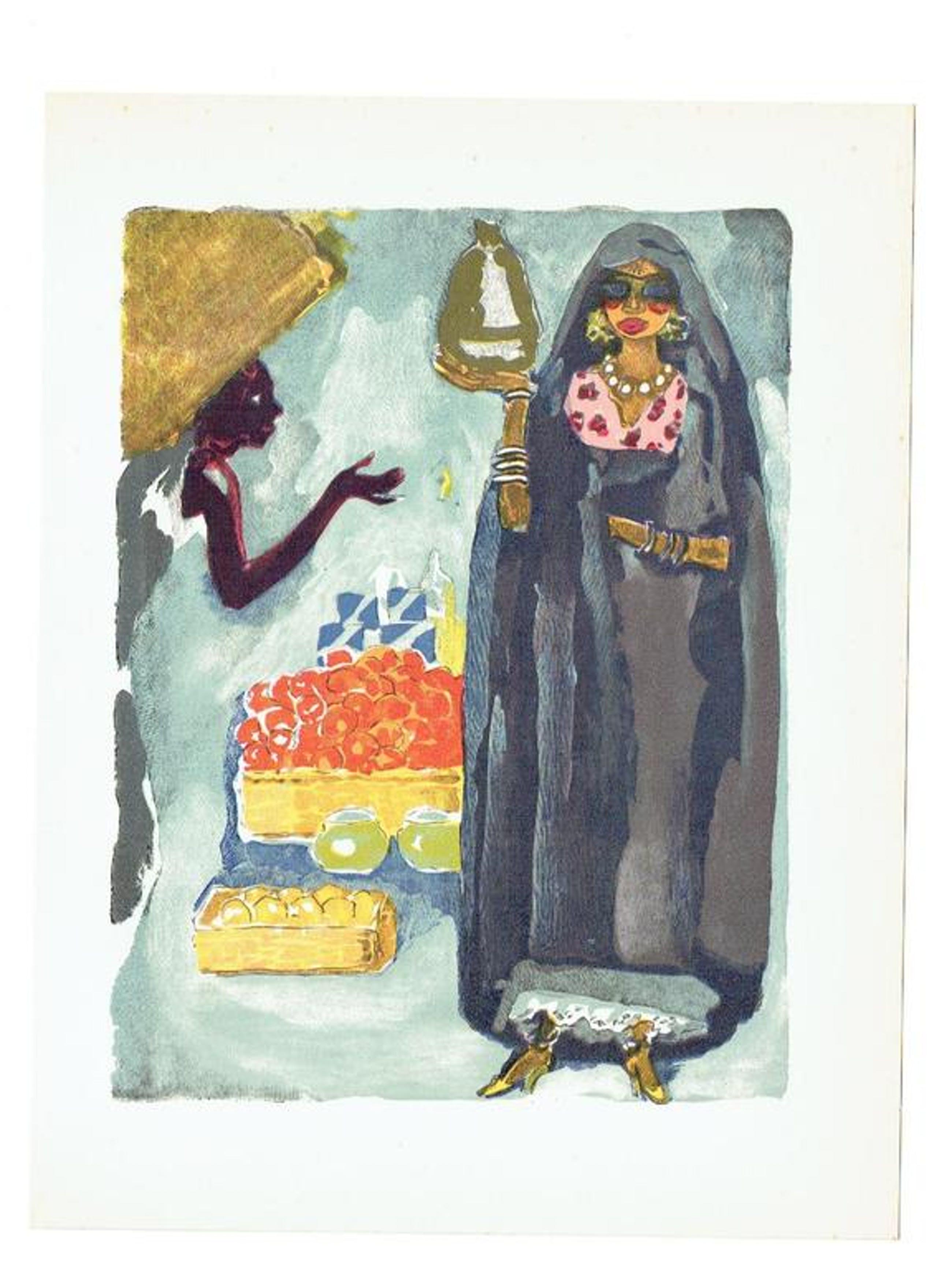 """""""L'adolescente et le portefaix"""" Originele houtgravure door Kees van Dongen 1955  kopen? Bied vanaf 20!"""