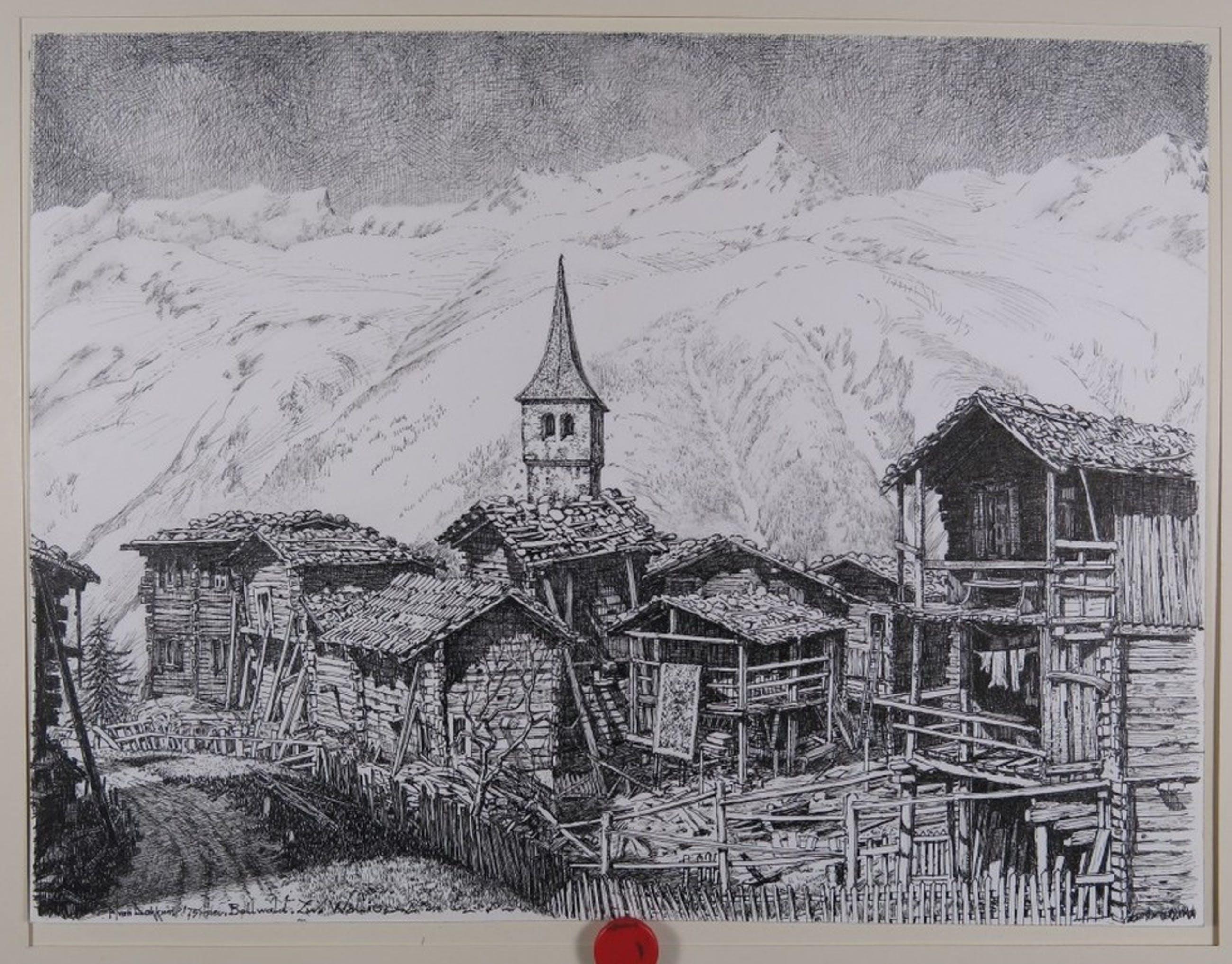 Piet van Dokkum: Pentekening, Bellwald Zwitserland Wallis kopen? Bied vanaf 1!