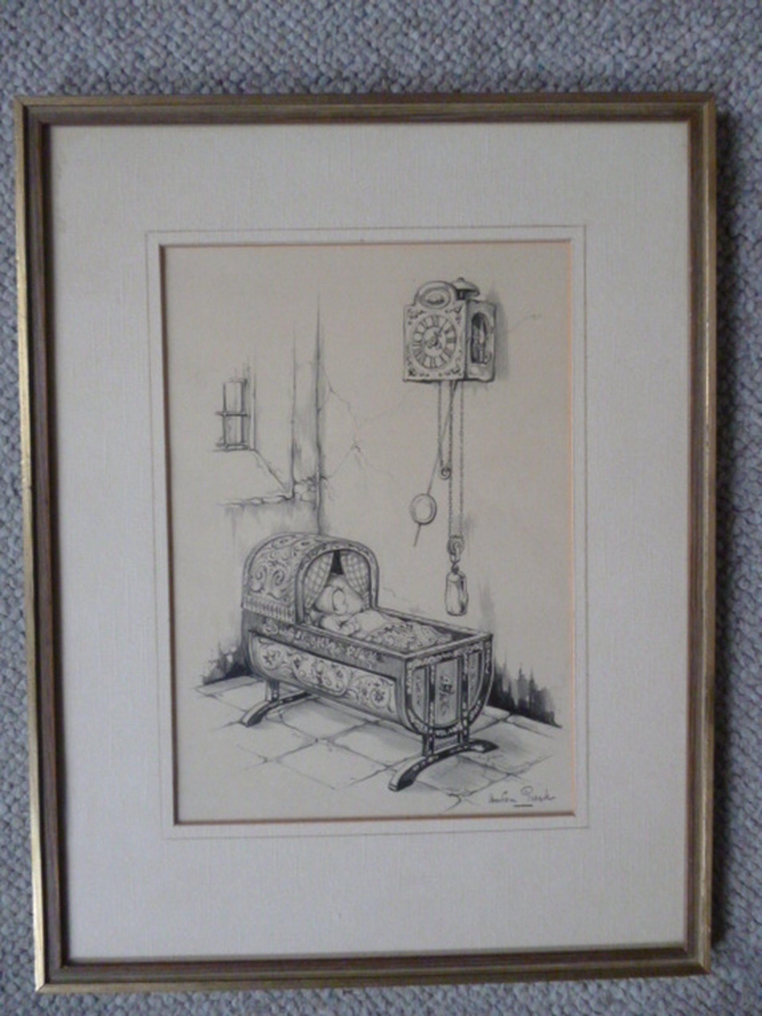 Anton Pieck - tekening - Baby in Hindeloper wieg kopen? Bied vanaf 425!