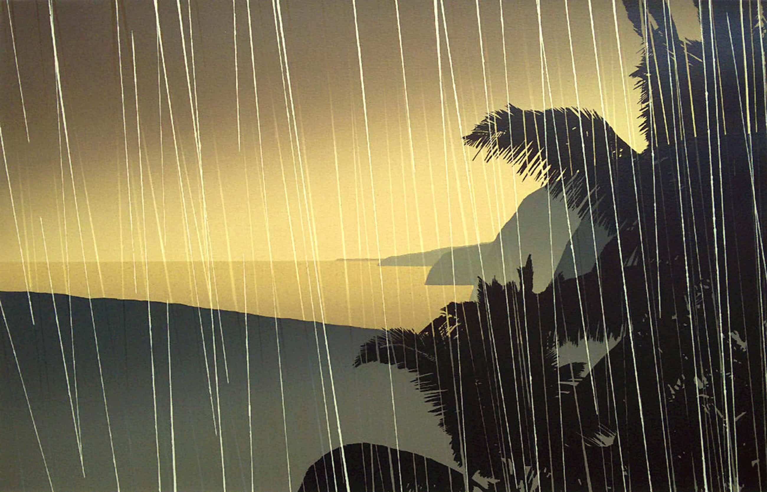Jan Hendrix - Kustlijn in de regen, zeefdruk (in passe-partout) kopen? Bied vanaf 100!
