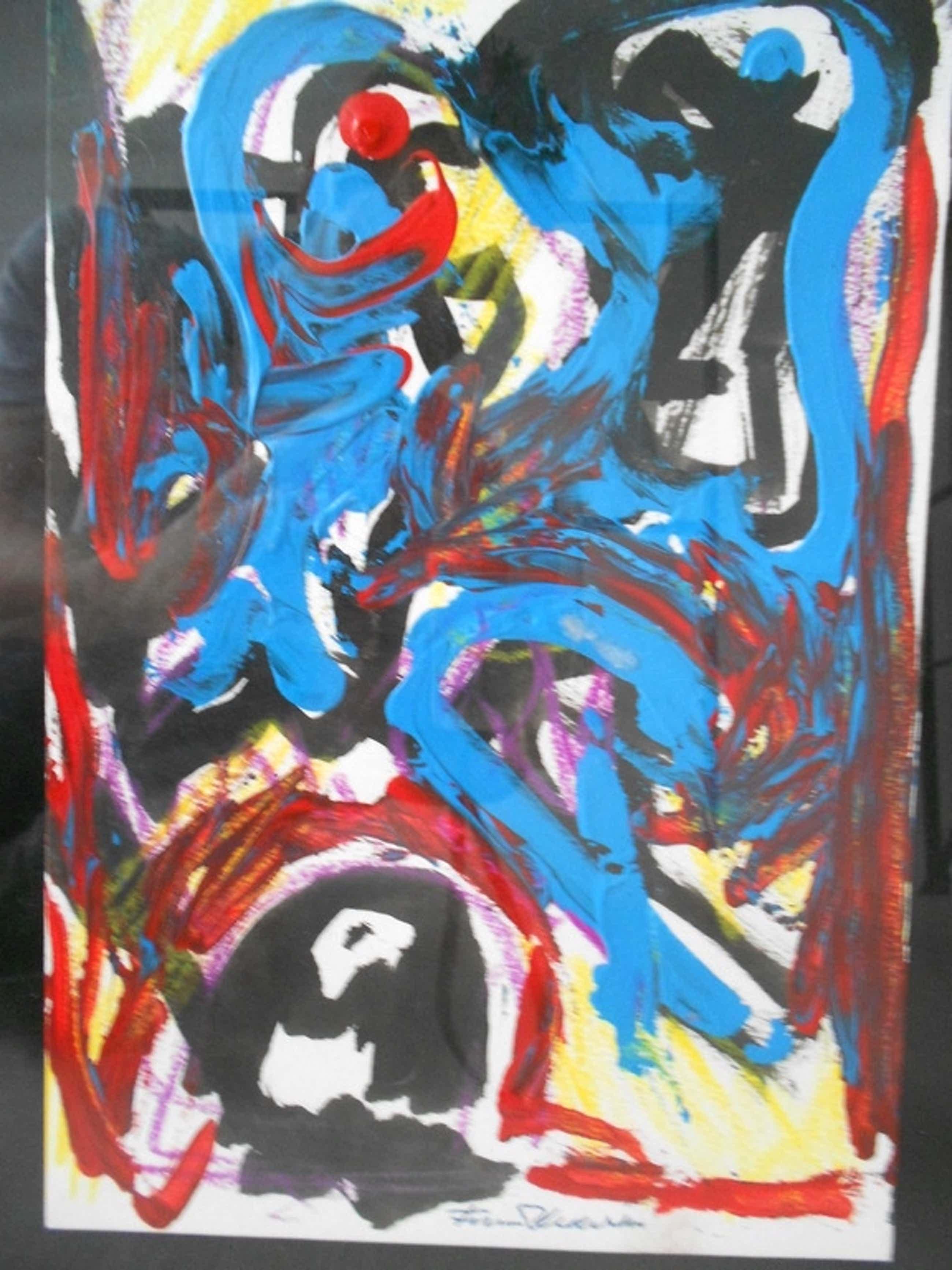 Finn Pedersen origineel acryl schilderij neo CoBrA kopen? Bied vanaf 160!