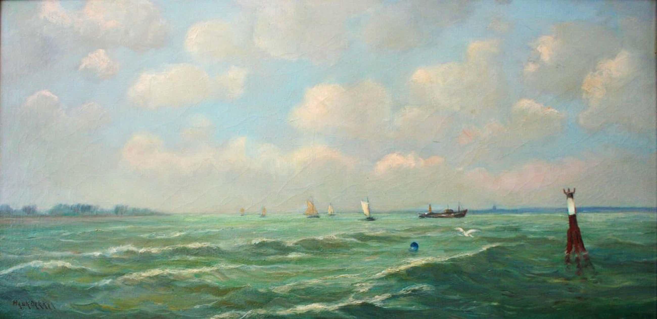 Henk Dekker (1897-1974)  - Olieverf op doek - boten op de Zuiderzee - gesigneerd kopen? Bied vanaf 250!