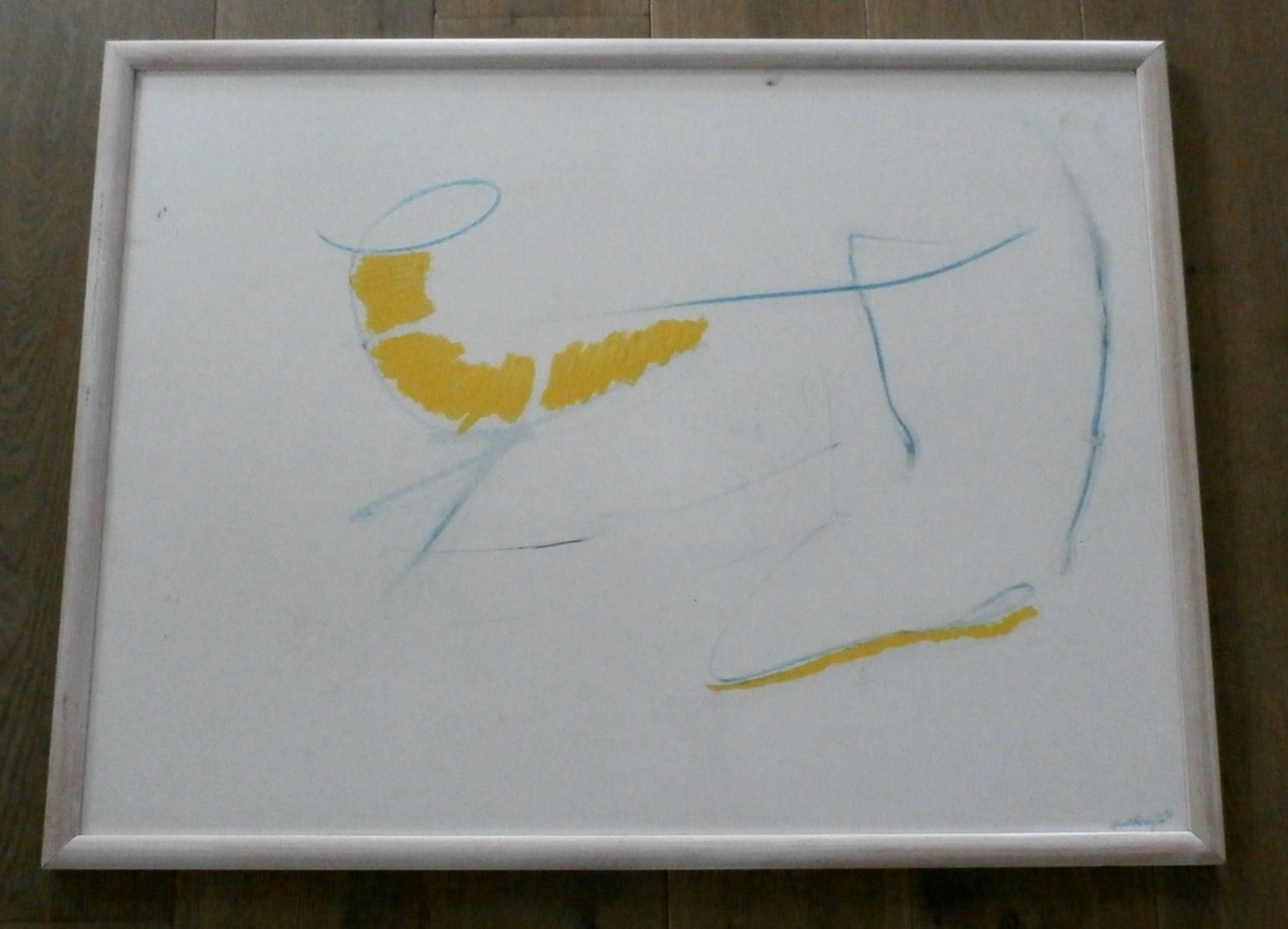 Gust Romijn - ingelijste abstracte olie- en krijttekening op board - 1981 kopen? Bied vanaf 399!