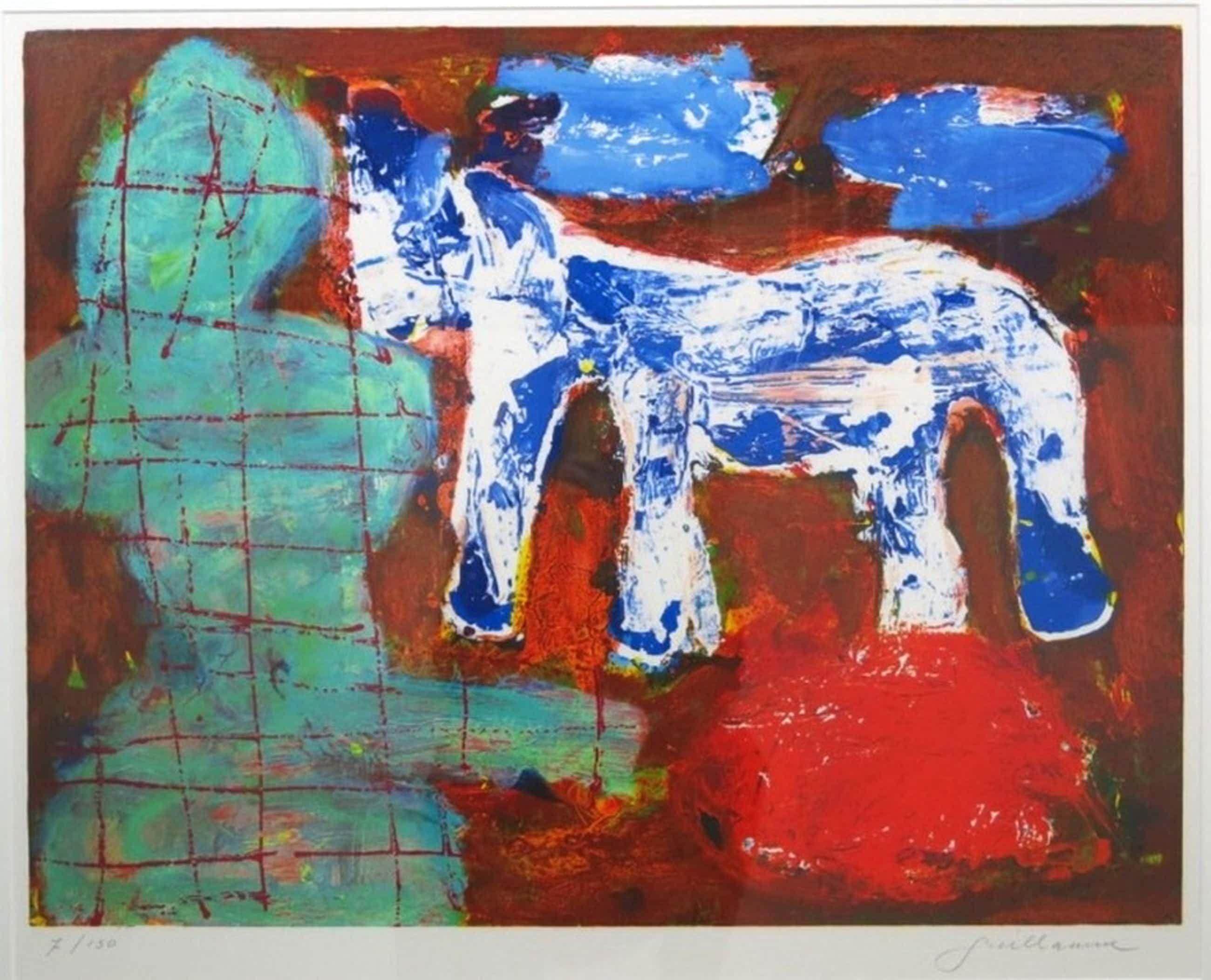 Guillaume Lo-A-Njoe abstract/figuratieve litho - ingelijst  kopen? Bied vanaf 70!