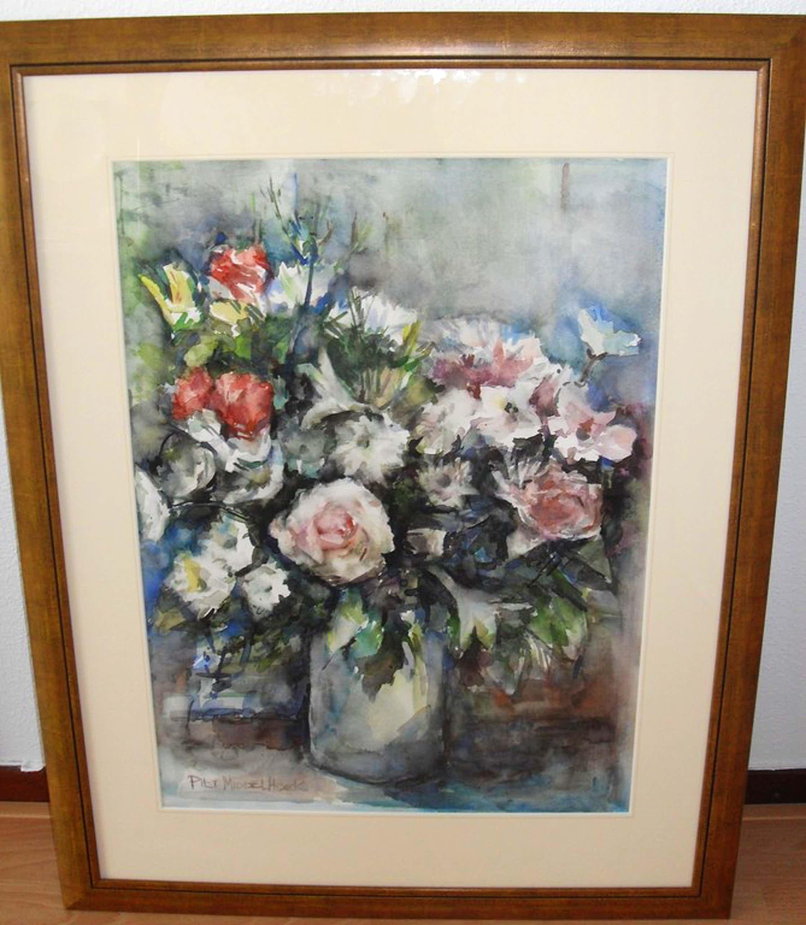 Piet Middelhoek ,Aquarel ,Groot boeket rozen in vaas kopen? Bied vanaf 125!