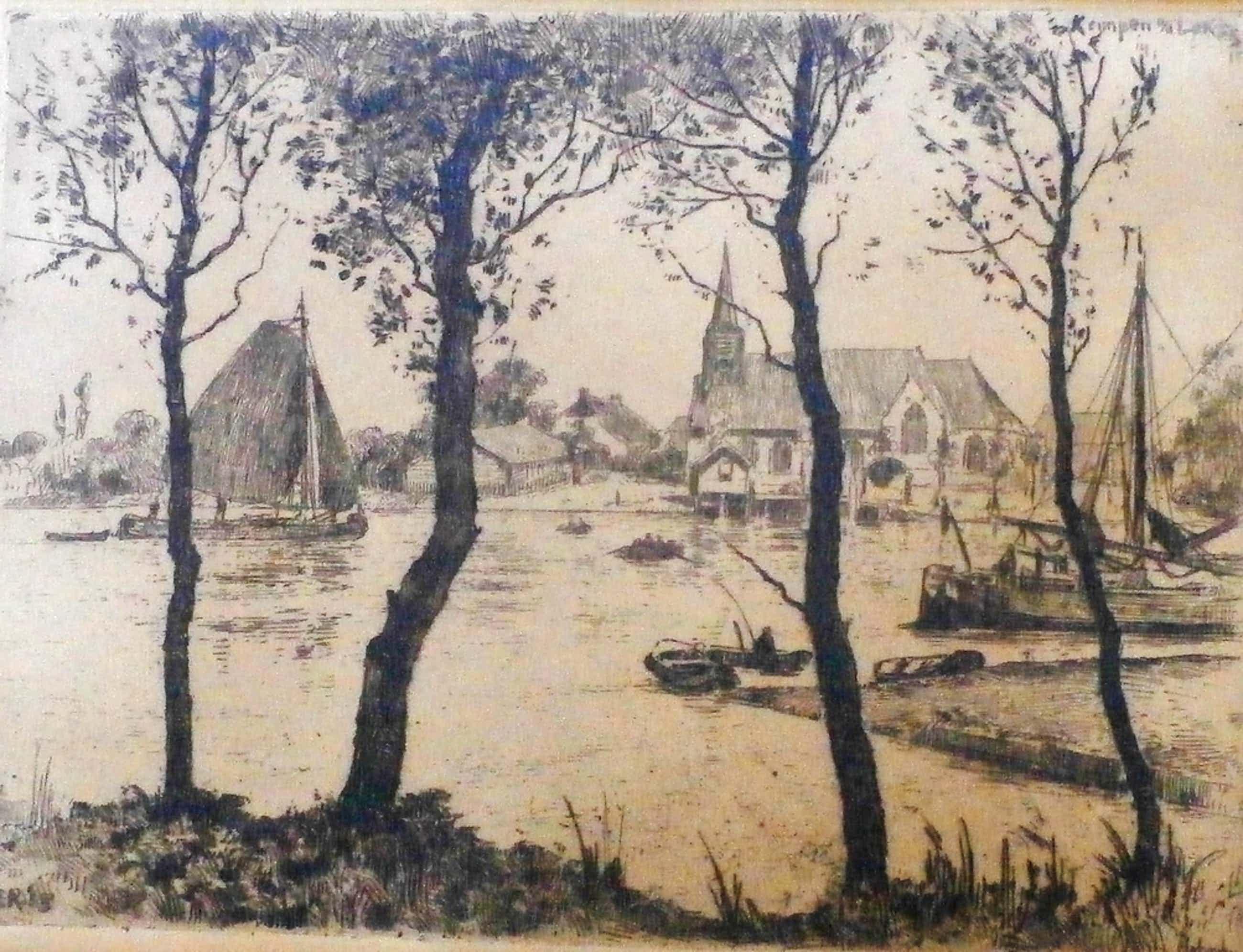 Hendrikus Roodenburg - ets: Bootjes in de rivier bij Elshout - 1915 kopen? Bied vanaf 45!