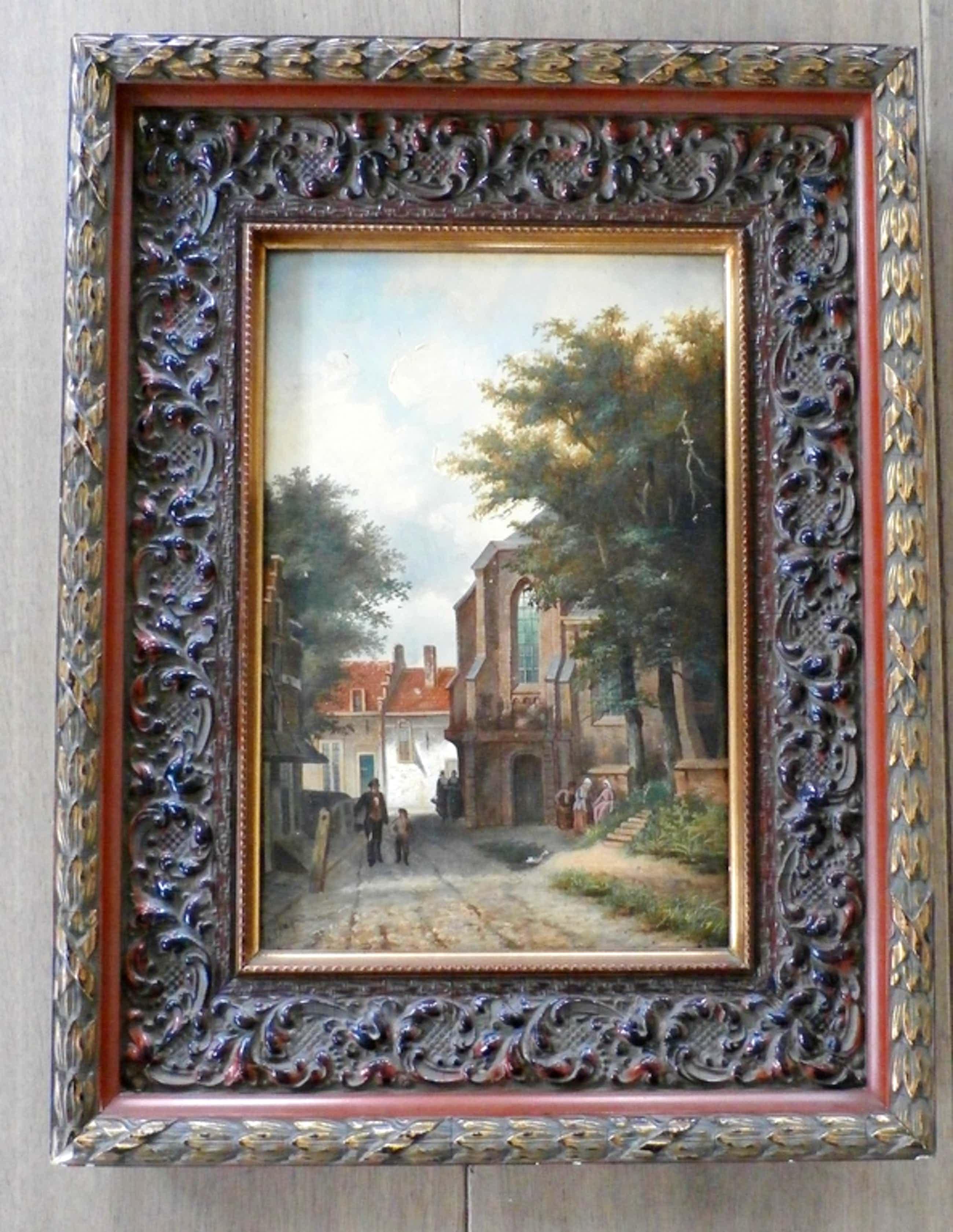 Albertus Sap van Drenthe - olieverf op board: figuren bij kerk kopen? Bied vanaf 199!