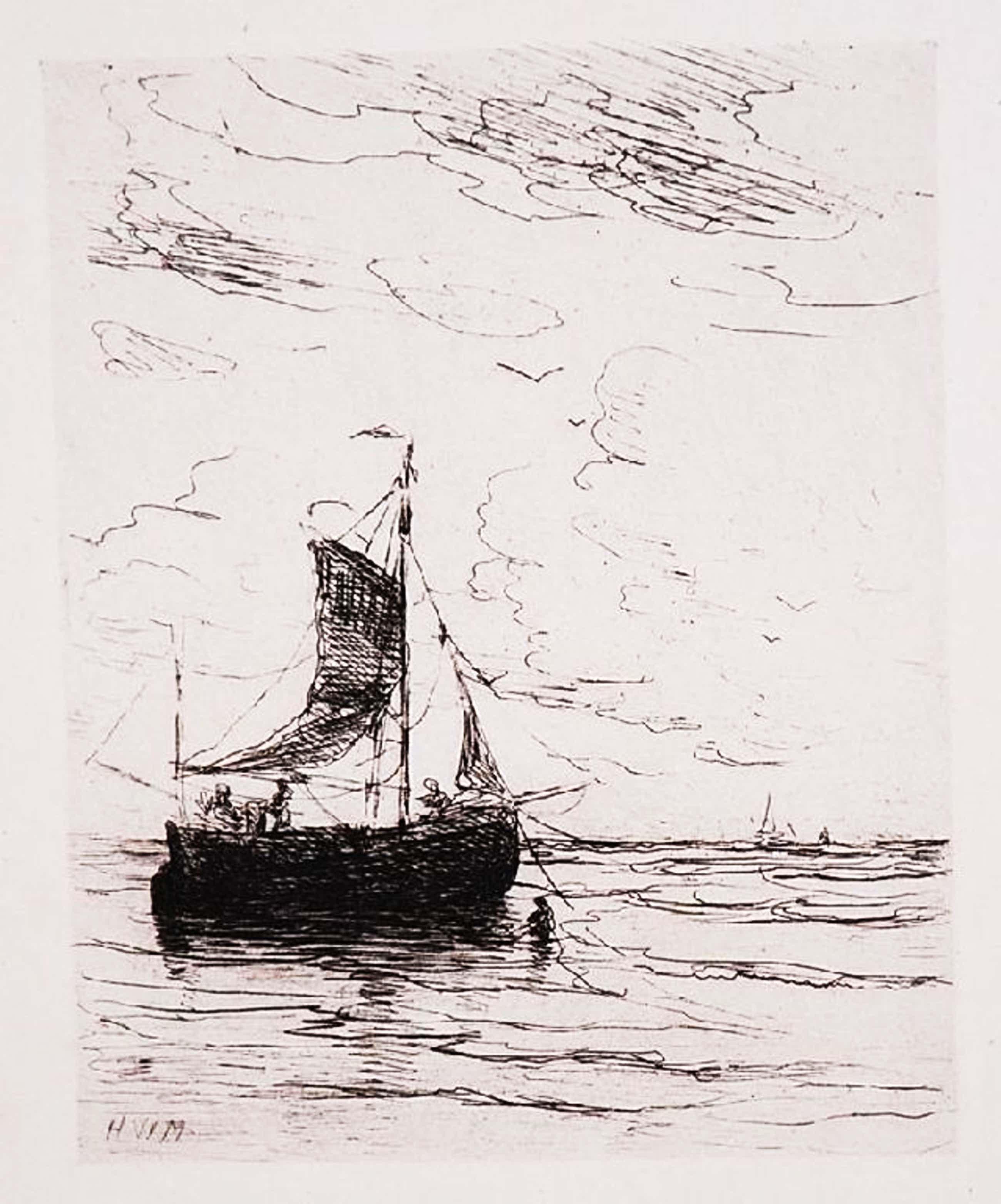 Hendrik Willem Mesdag: Ets Zeilschip. uit 1891 kopen? Bied vanaf 70!