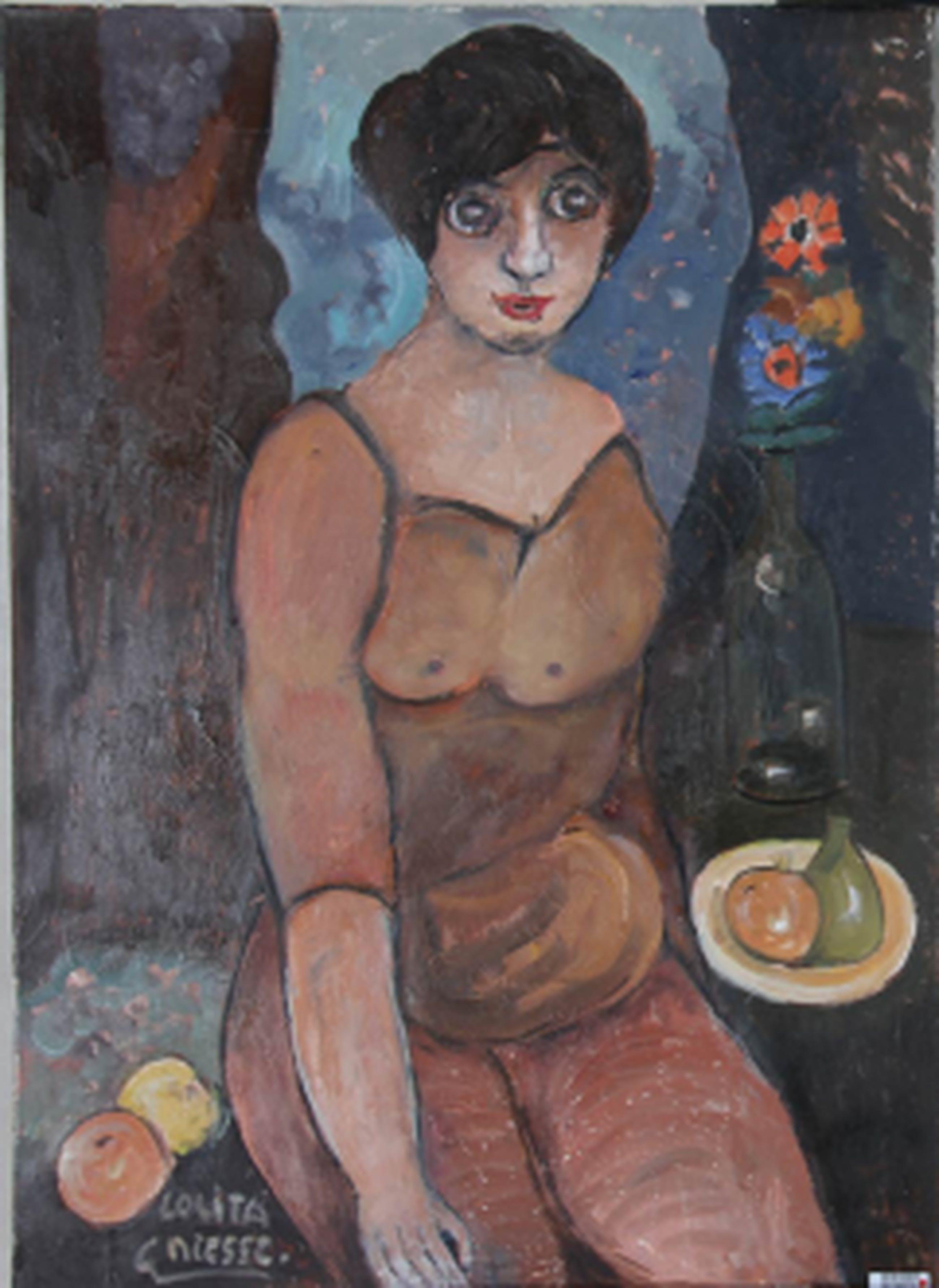 Gijsbert Niesse ( Schagen 1934-   Lolita - olie/doek  70 x 50  kopen? Bied vanaf 50!