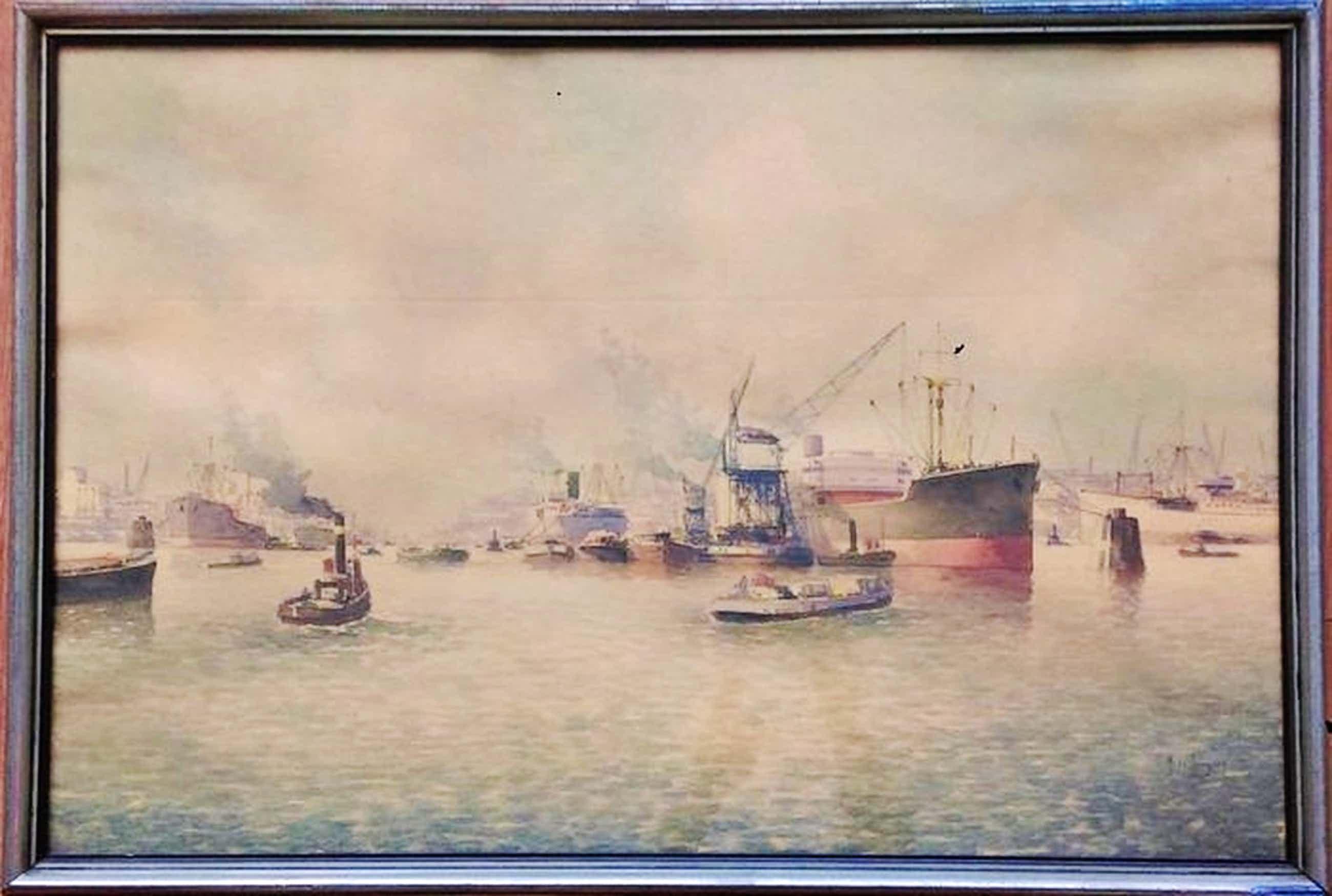 Bedrijvigheid in de Rotterdamse haven - gemengde techniek - gesigneerd - 1940 kopen? Bied vanaf 300!