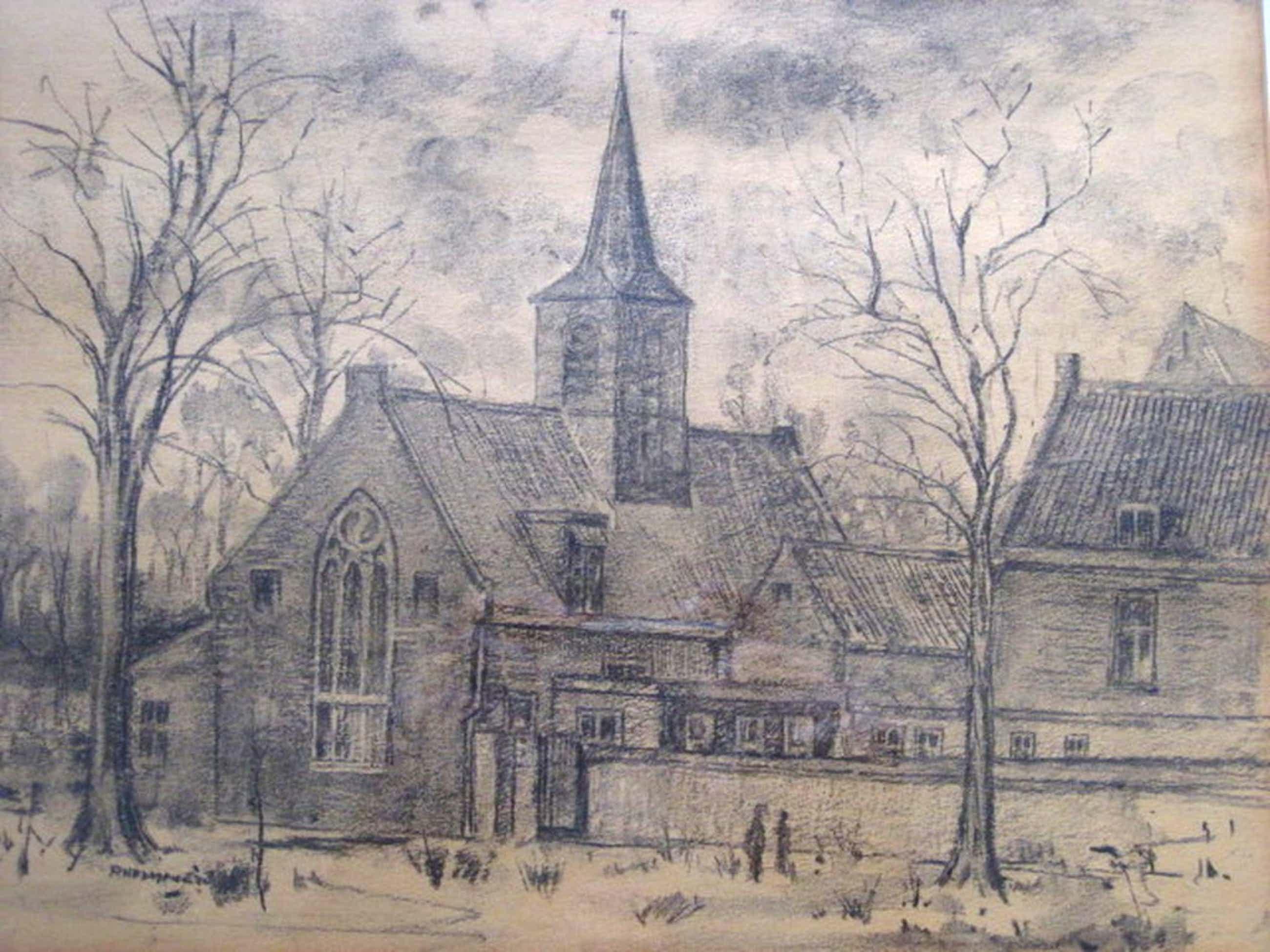 """Sterke houtskooltekening """"Kerk te Haarlem"""" van Haarlemse Vijftiger Poppe Damave kopen? Bied vanaf 50!"""