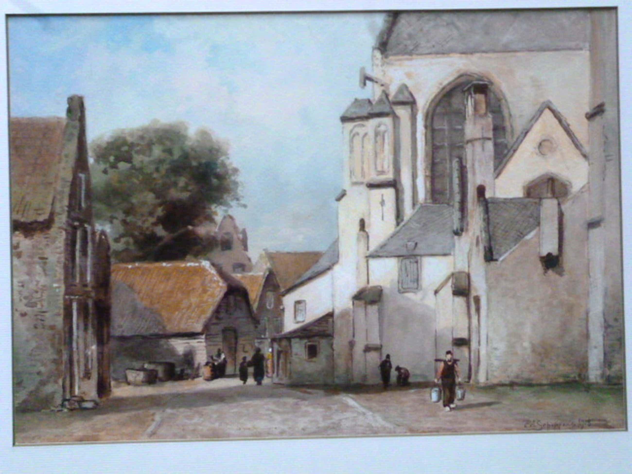P.A. Schipperus - aquarel - Personen op straat achter kerk kopen? Bied vanaf 225!