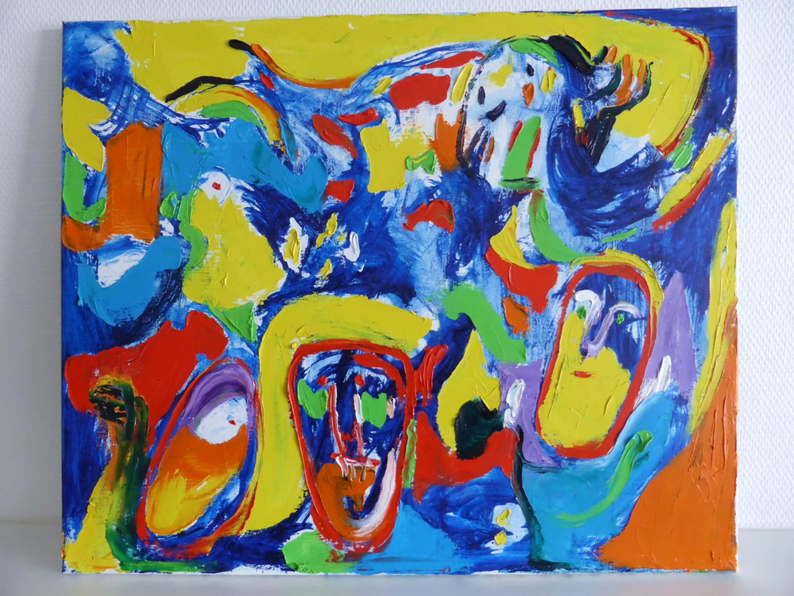 """Goed schilderij van de Deense """" cobraschilder"""" Finn Pedersen kopen? Bied vanaf 700!"""