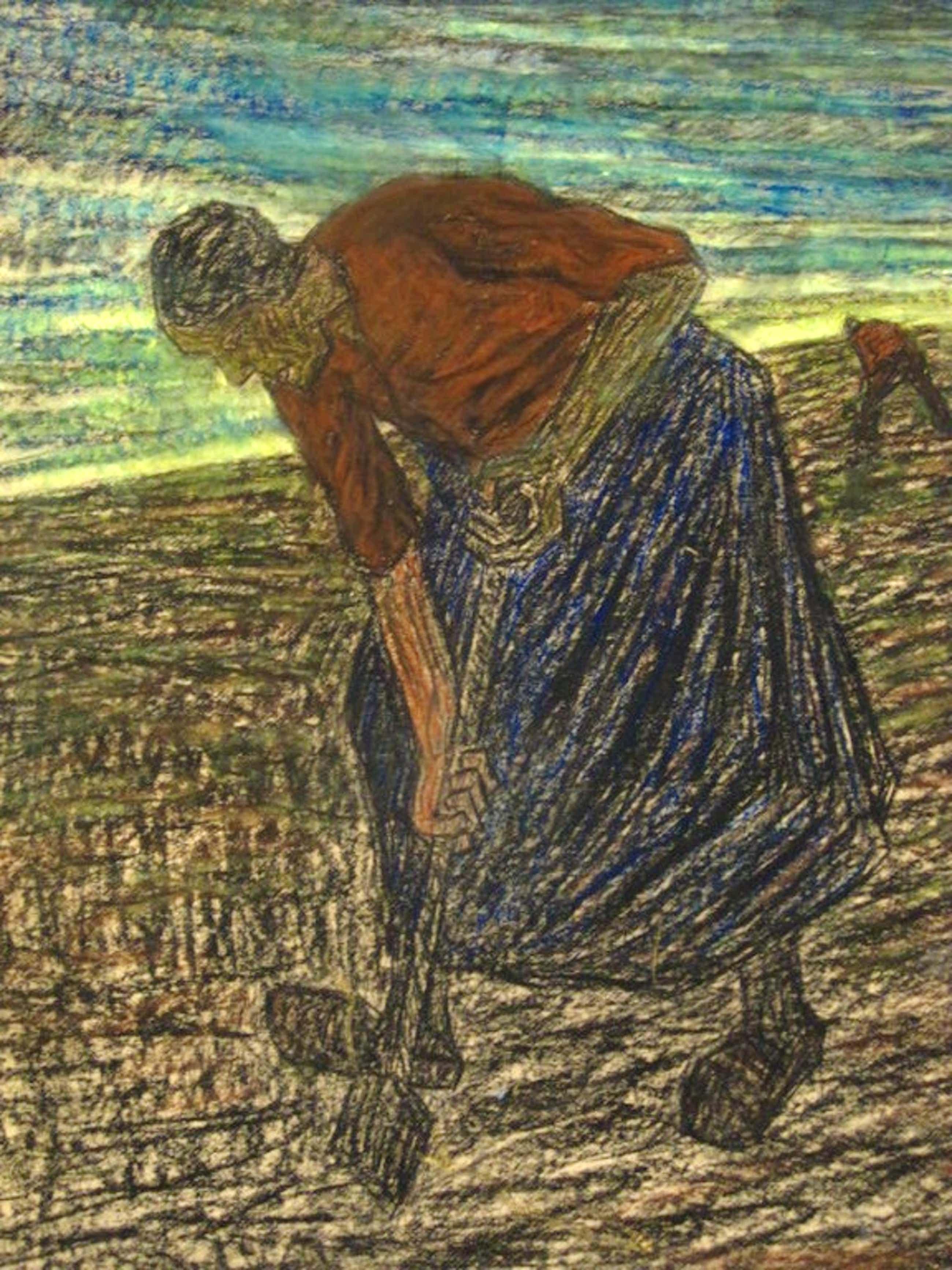 """""""landarbeiders bij invallende avond"""" van Corn.v.Assendelft 1870-1945 gesigneerd kopen? Bied vanaf 120!"""