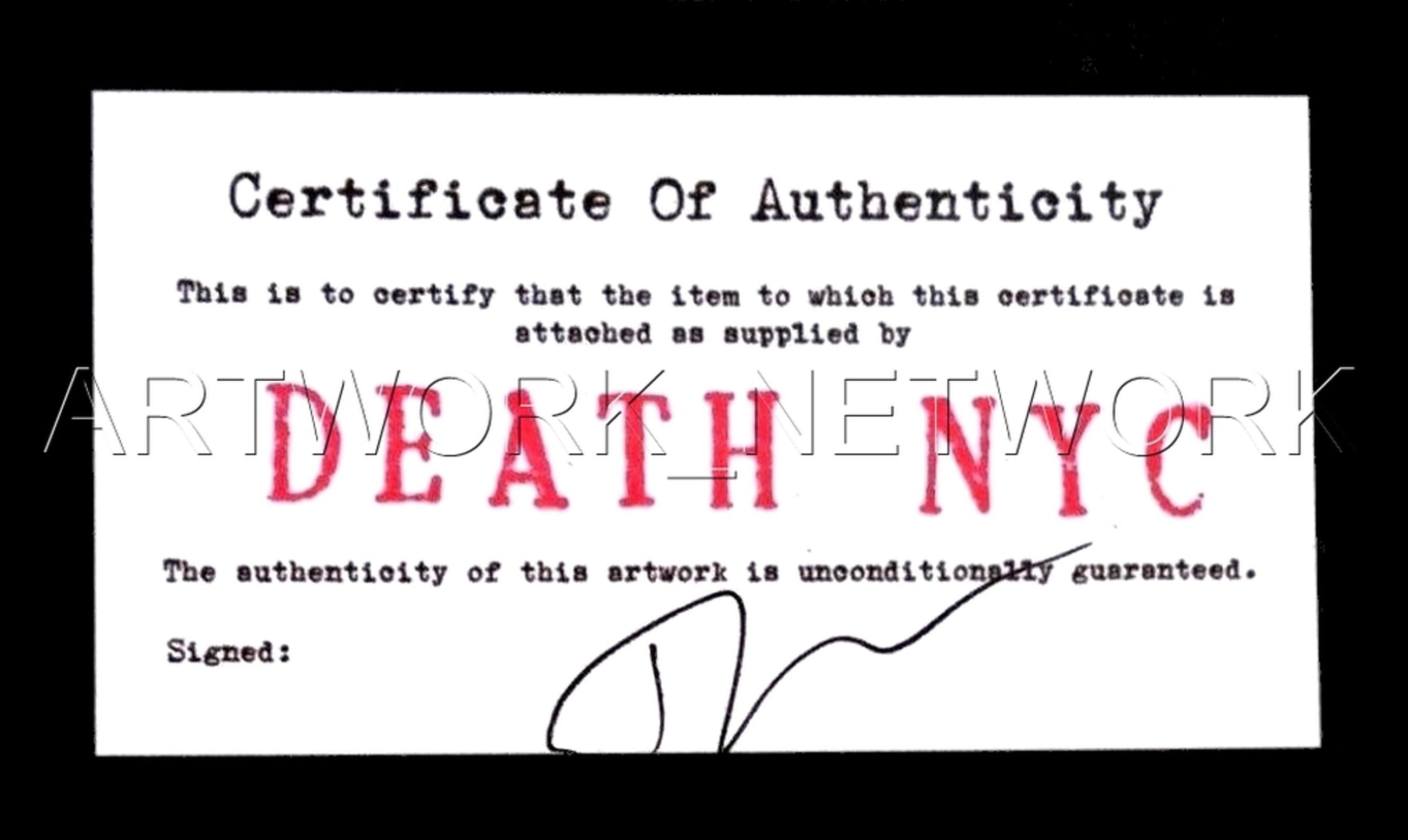 """DEATH NYC - """"Mao $ 100""""- n° A/P - Signed with COA (Edition Artist Proof kopen? Bied vanaf 15!"""