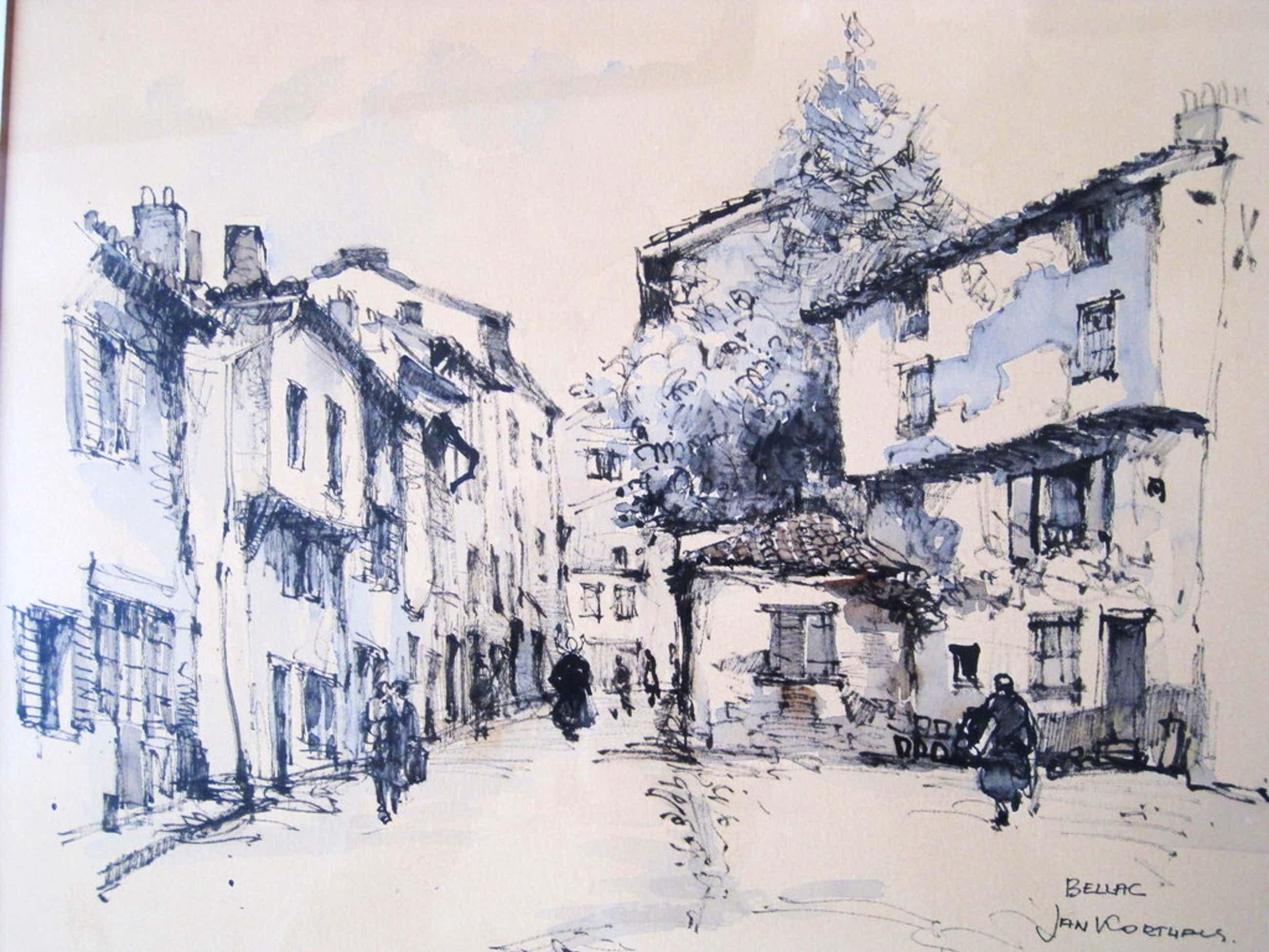 Jan Korthals 1916-1972 Amsterdamse impressionist Aquarel Bellac  kopen? Bied vanaf 60!