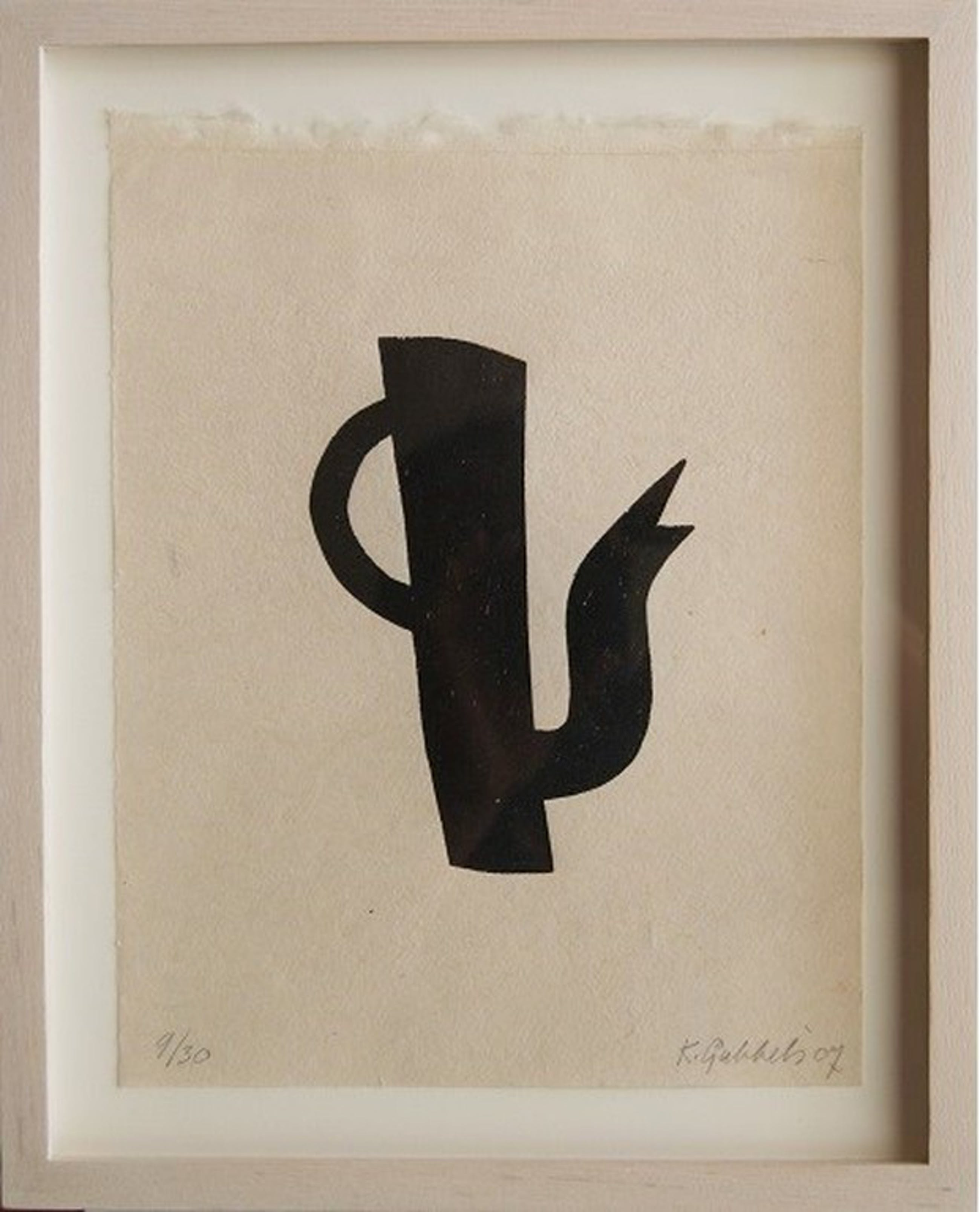 Klaas Gubbels houtdruk 'Zwarte kan' uit 2007. kopen? Bied vanaf 350!