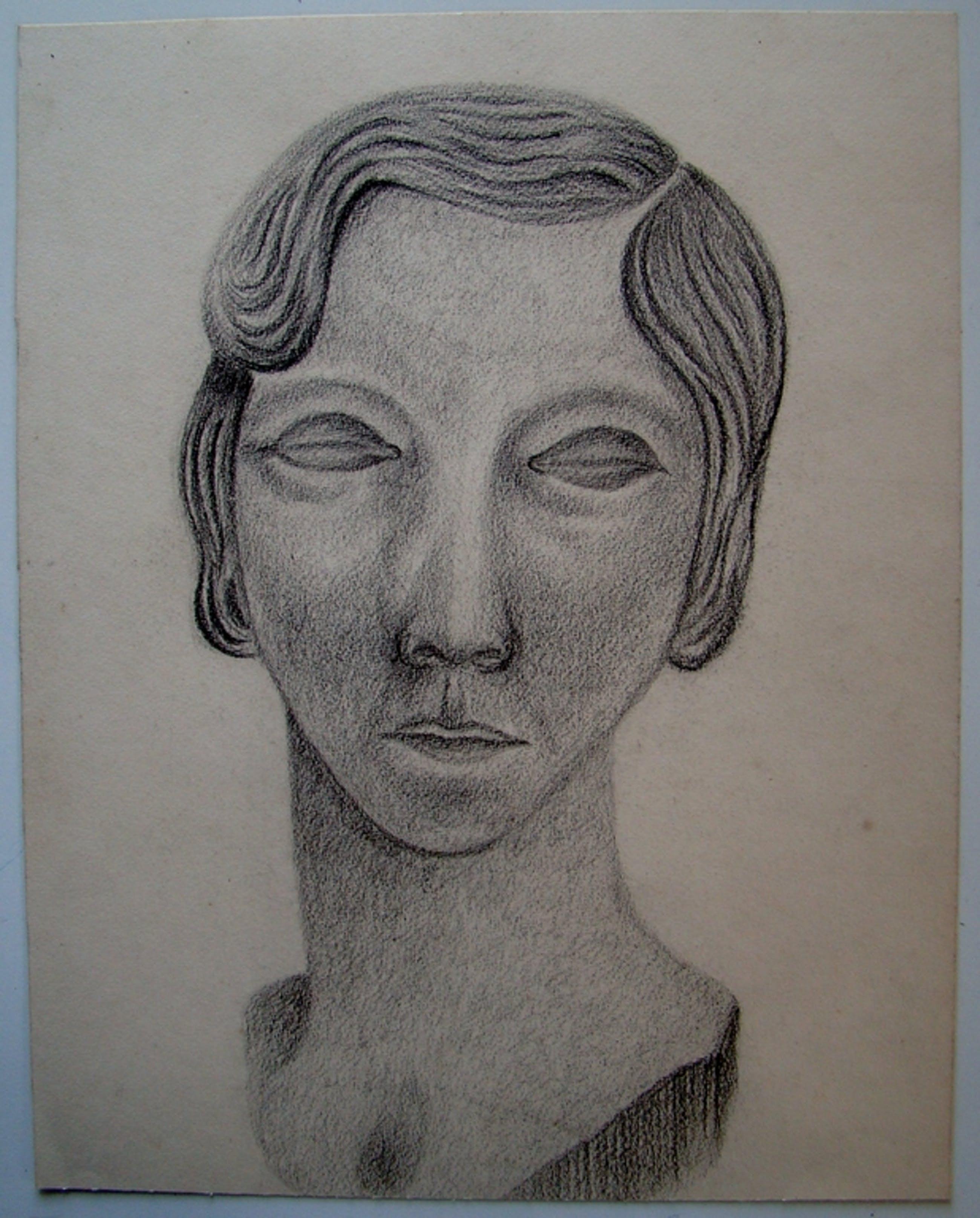 Serene potloodtekening - portret jongedame kopen? Bied vanaf 1!