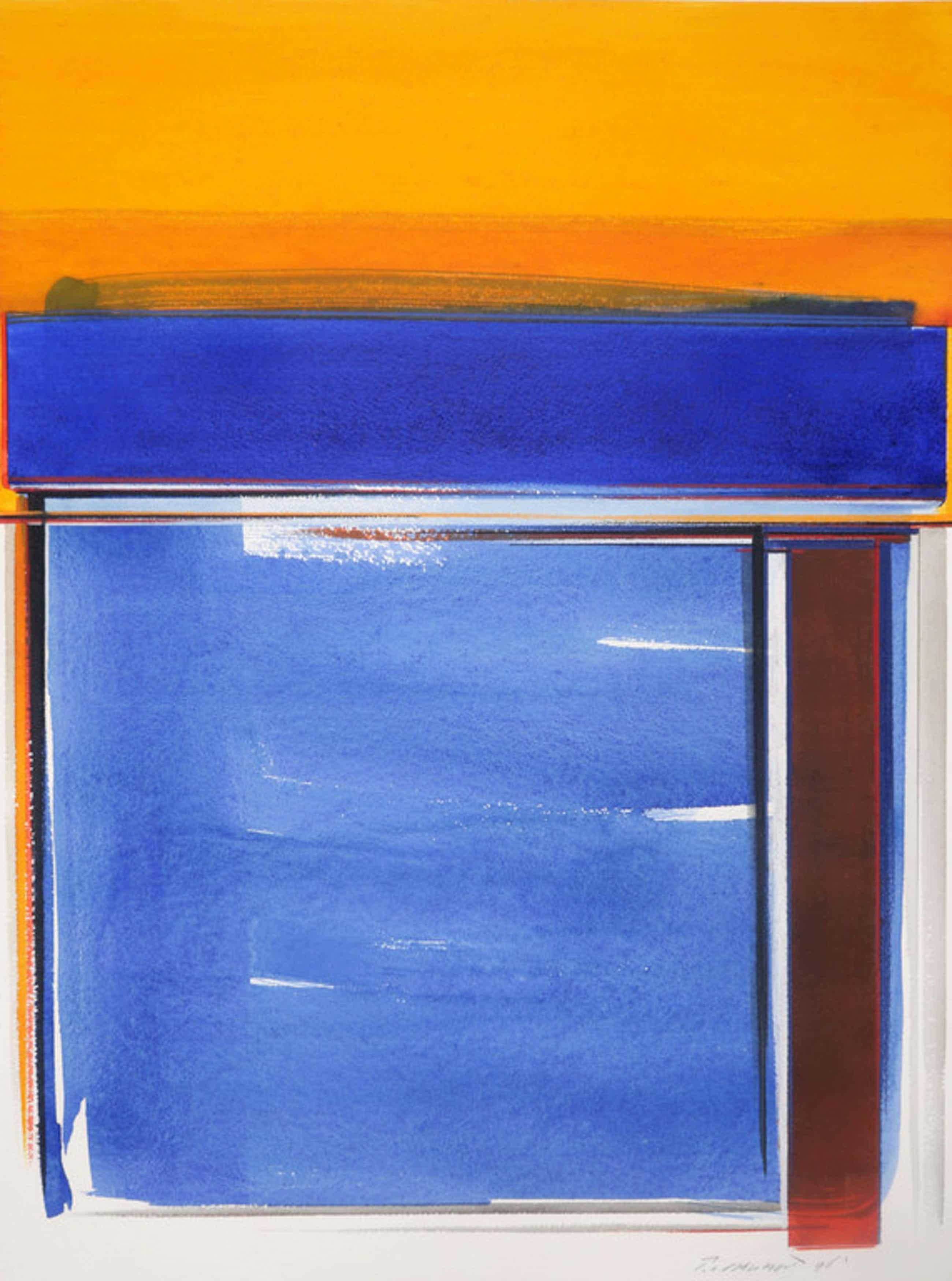 Peter van Drumpt: Aquarel, Z.T. (Oranje/blauw) kopen? Bied vanaf 40!