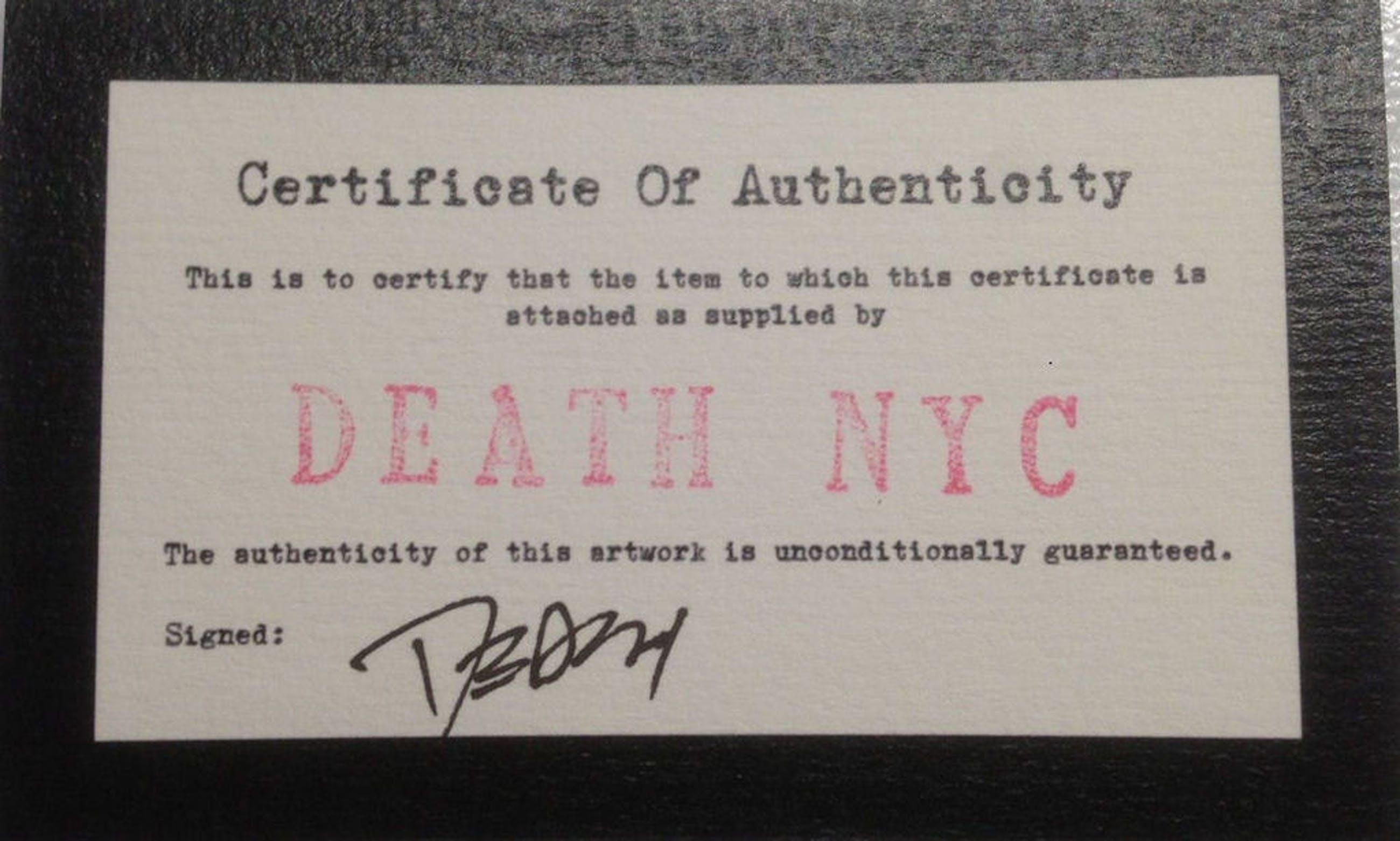set van vier originele banknotes, DEATH NYC met coa kopen? Bied vanaf 50!