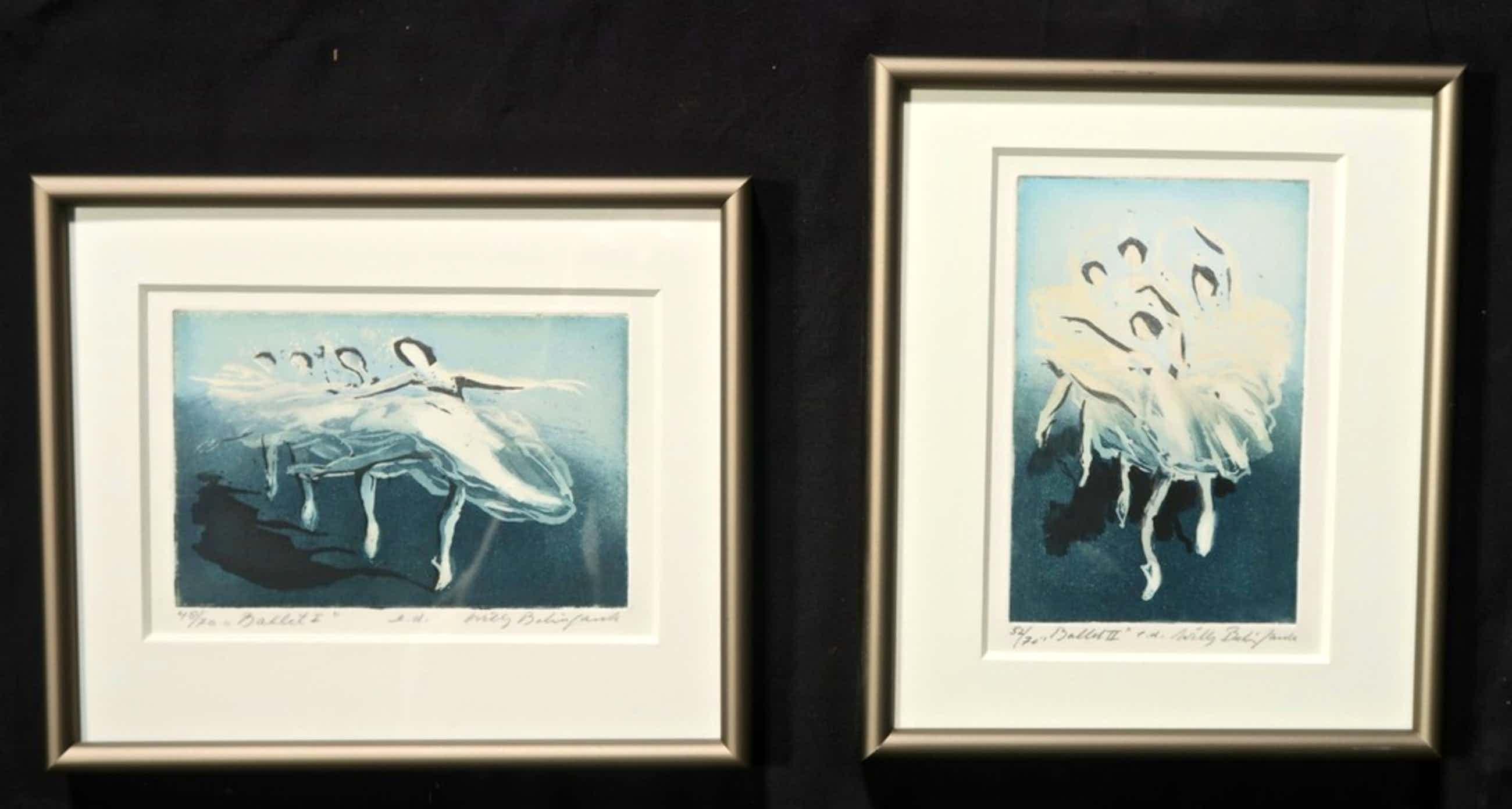 Lot met 2 werken van Willy Belinfante: Ets, Ballet I..kleine lijstjes kopen? Bied vanaf 55!