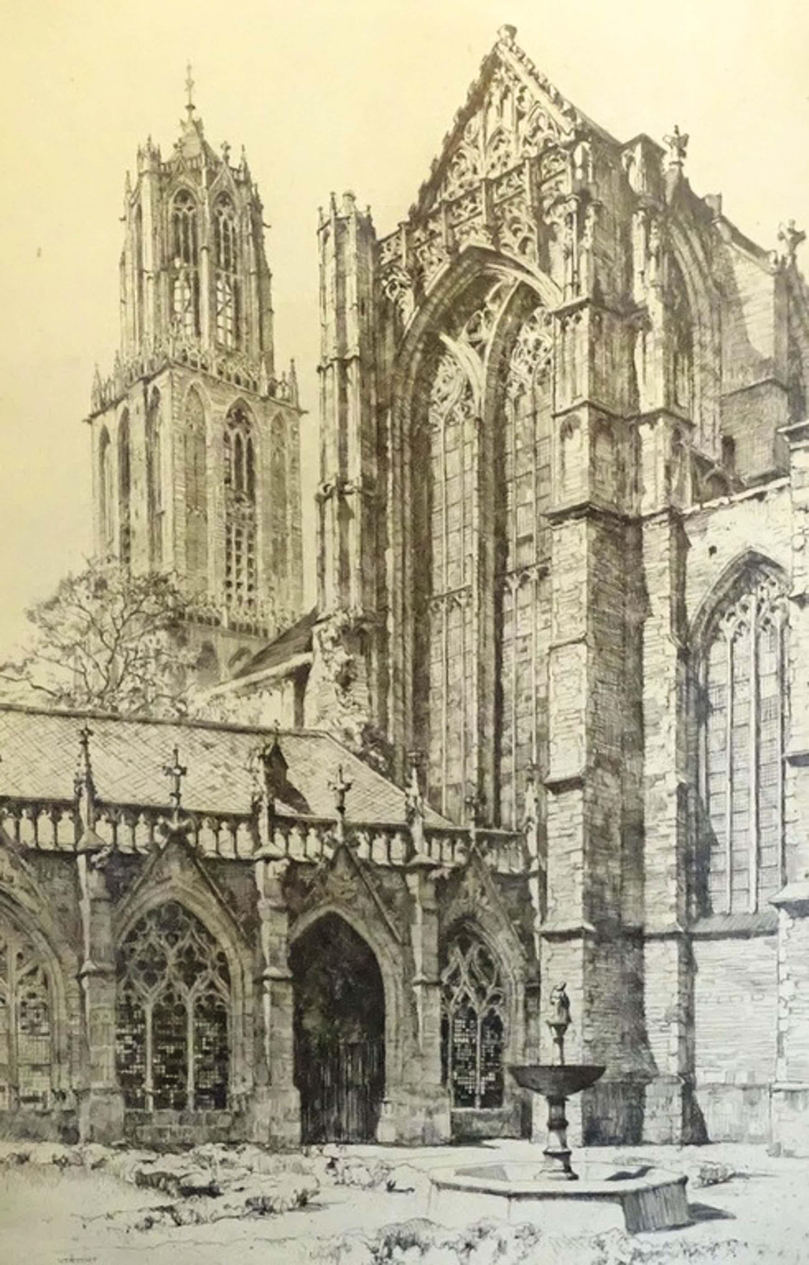 H.E. Roodenburg (1895-1987)  --  Ets  --  Dom Utrecht kopen? Bied vanaf 40!