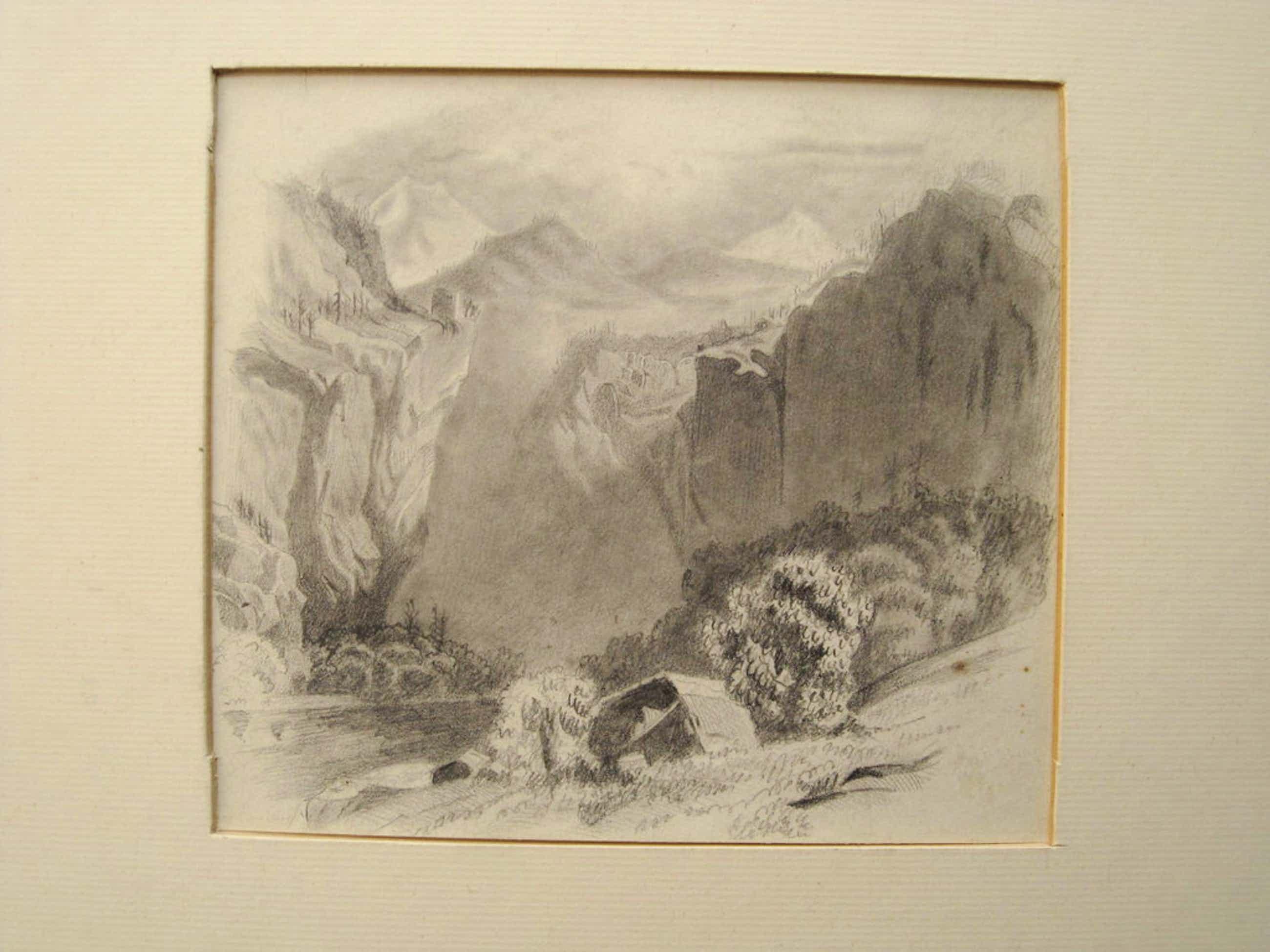 H.W Mesdag 1831-1915 - potloodtekening - Berglandschap - gesigneerd ca. 1880 kopen? Bied vanaf 80!