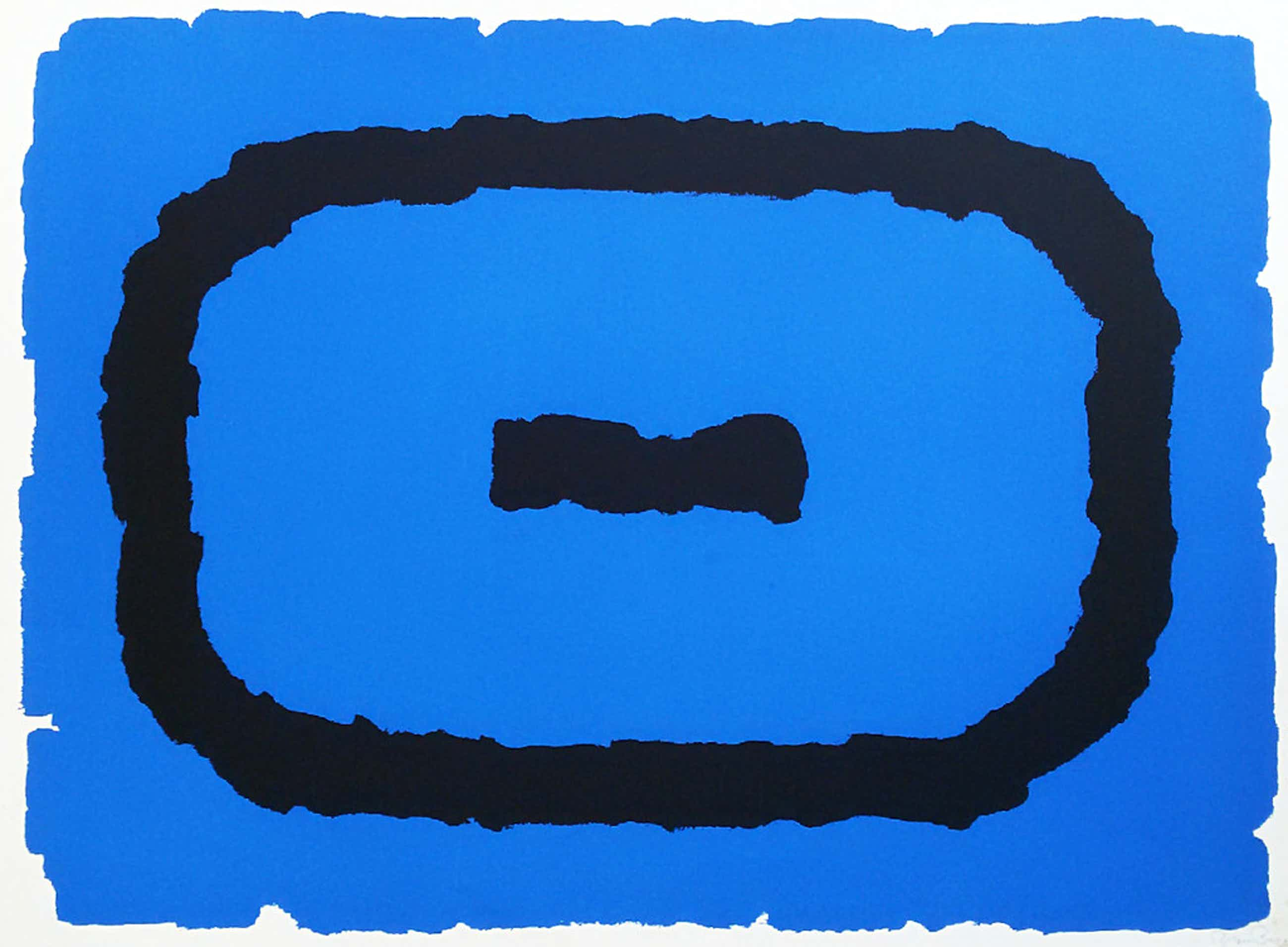 Bram Bogart - Compositie in blauw en zwart, zeefdruk kopen? Bied vanaf 175!