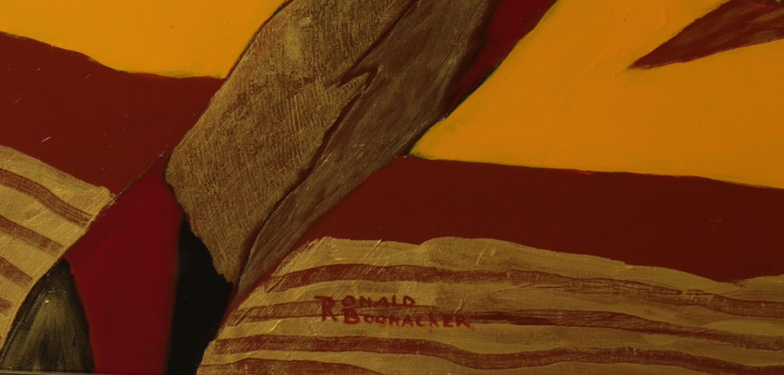 Ronald Boonacker: Acryl op doek, Palm - Ingelijst (Zeer groot!) kopen? Bied vanaf 450!