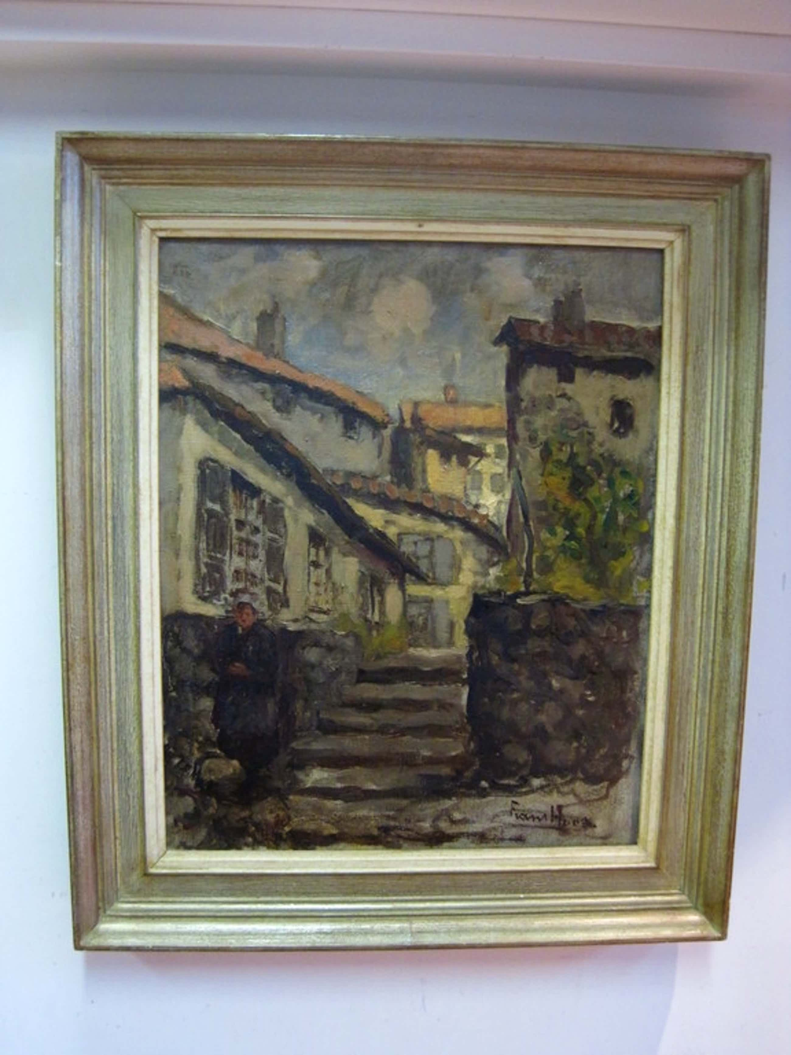 """Frans Hoos 1884-1966 """"Scheveningen met vrouw in klederdracht"""" olieverf 1920 kopen? Bied vanaf 285!"""