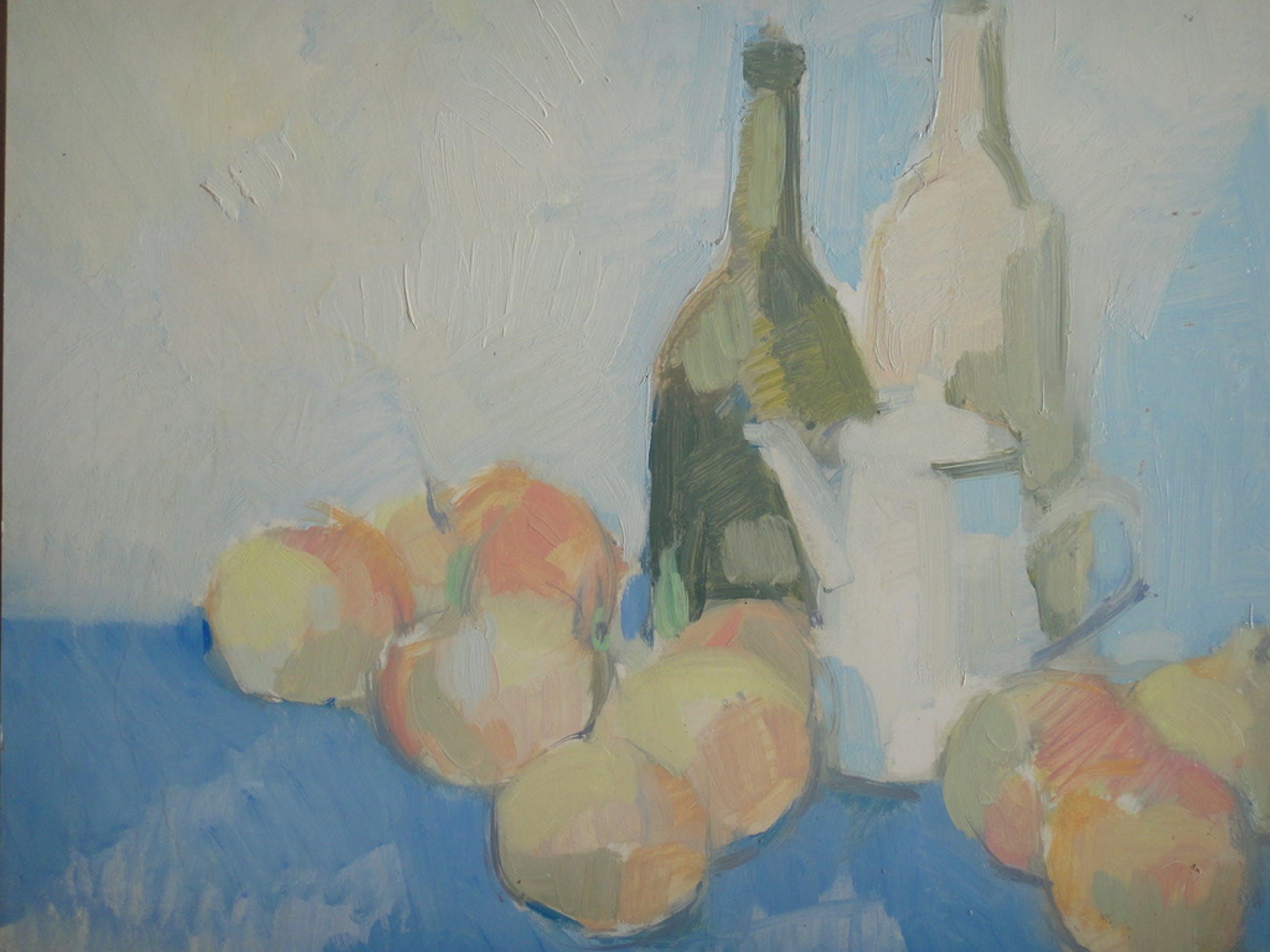 Jan Verheijen, olieverf op board, stilleven met fruit en theekan II kopen? Bied vanaf 1!