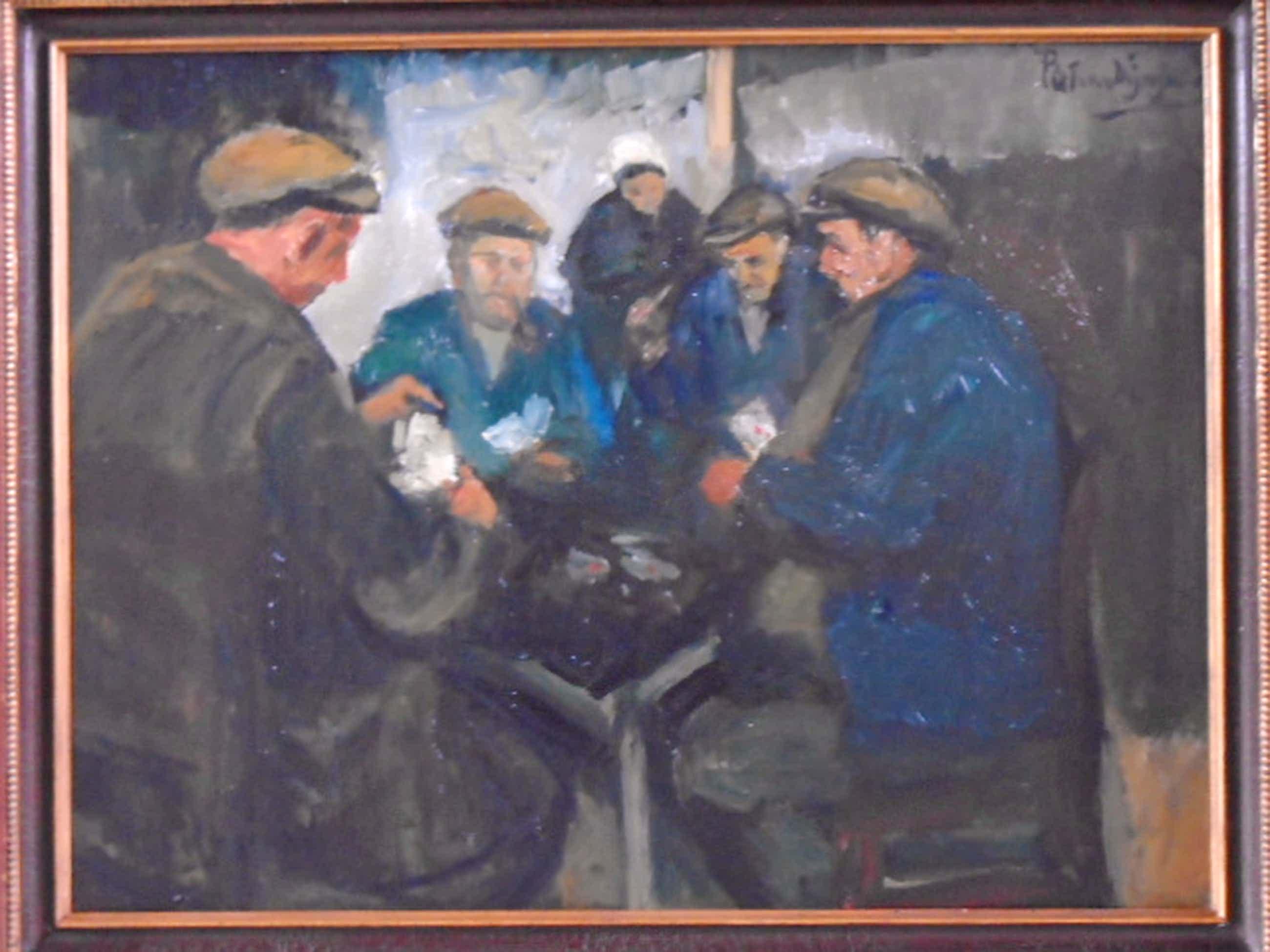 Piet van Wijngaerdt - olieverf - Kaartspelende boeren (Heeze) kopen? Bied vanaf 795!