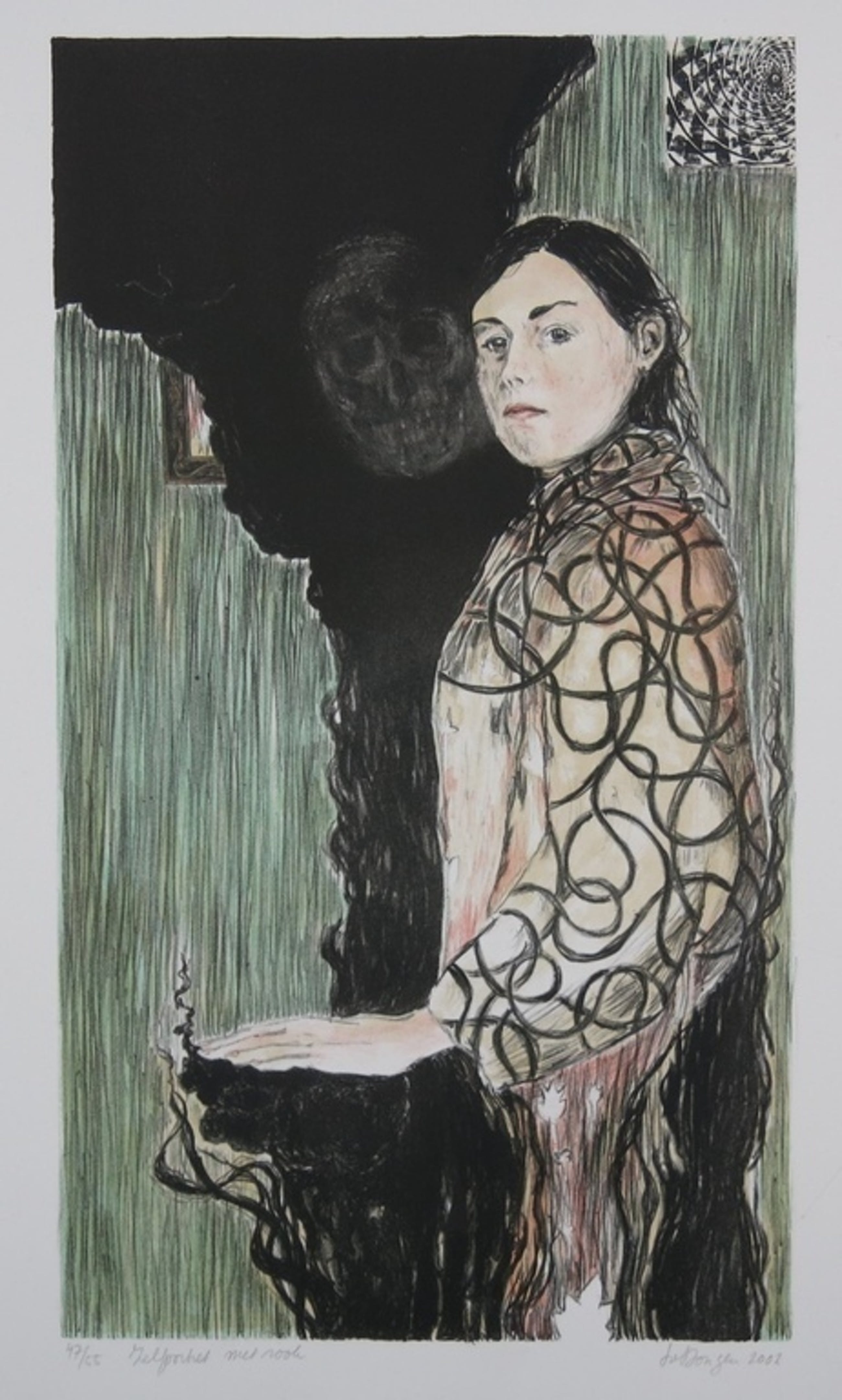 Iris van Dongen: Litho, Zelfportret met rook kopen? Bied vanaf 35!