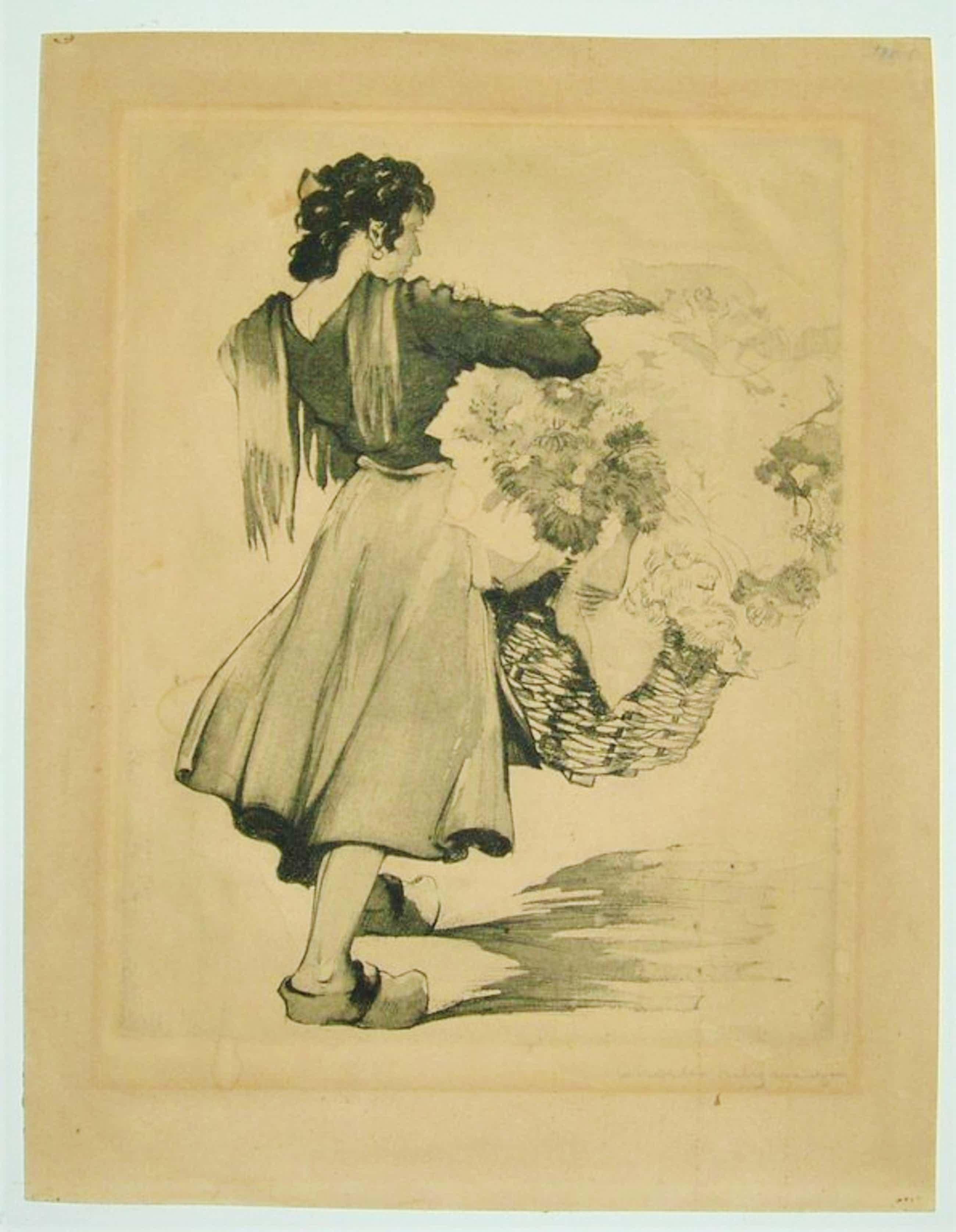 Charles Swyncop - Jeune femme au panier de fleurs - ca 1922 - ets, gesigneerd kopen? Bied vanaf 35!