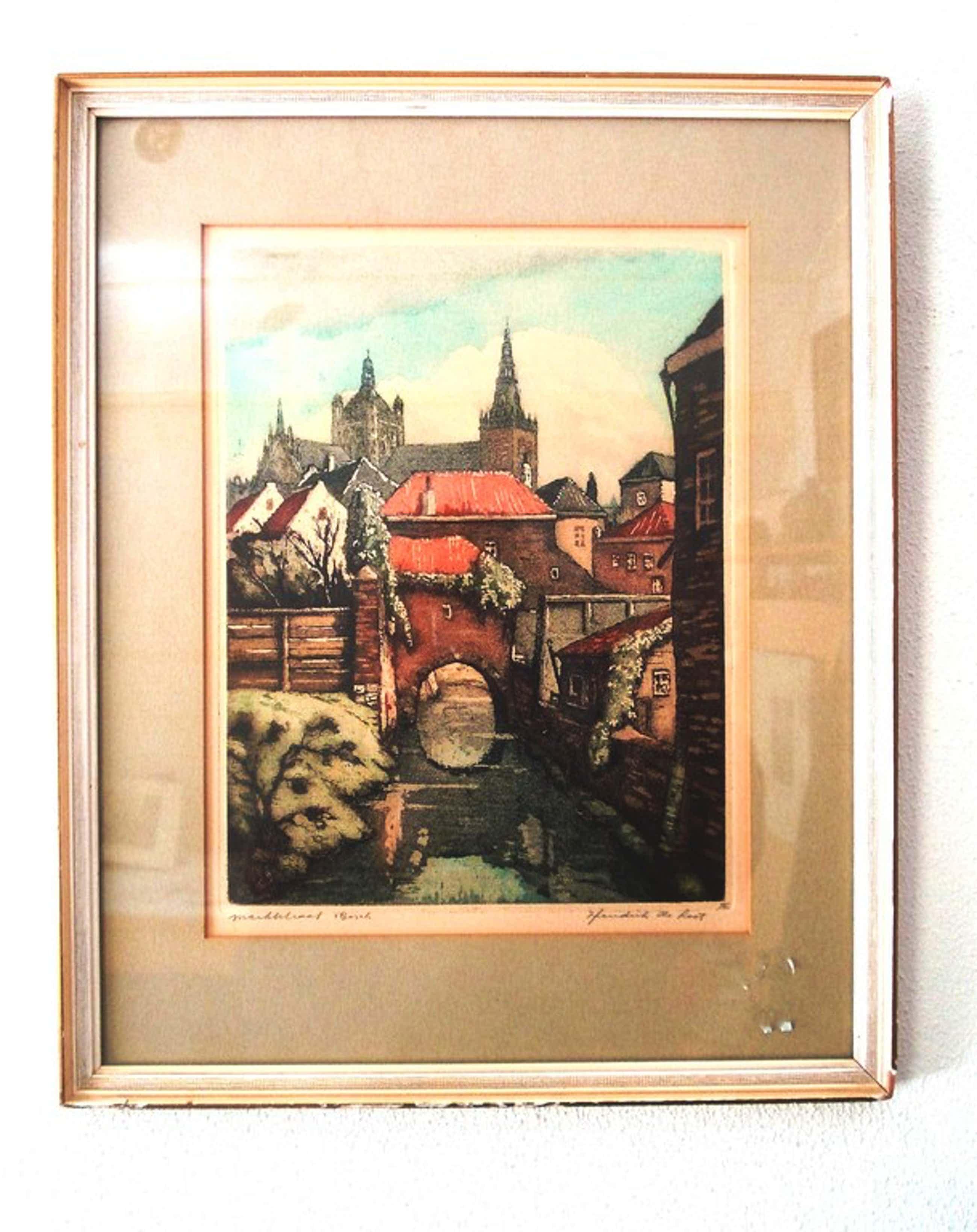 Hendrik de Laat 1900-1980  Den Bosch.  Kleuren ets. kopen? Bied vanaf 40!