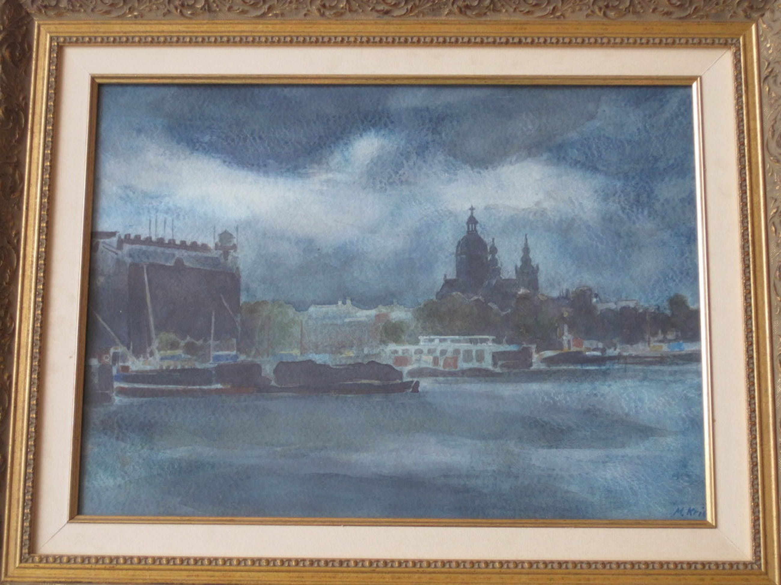 Mario Kriek 1906-1977 aquarel, Amsterdam bij nacht kopen? Bied vanaf 10!
