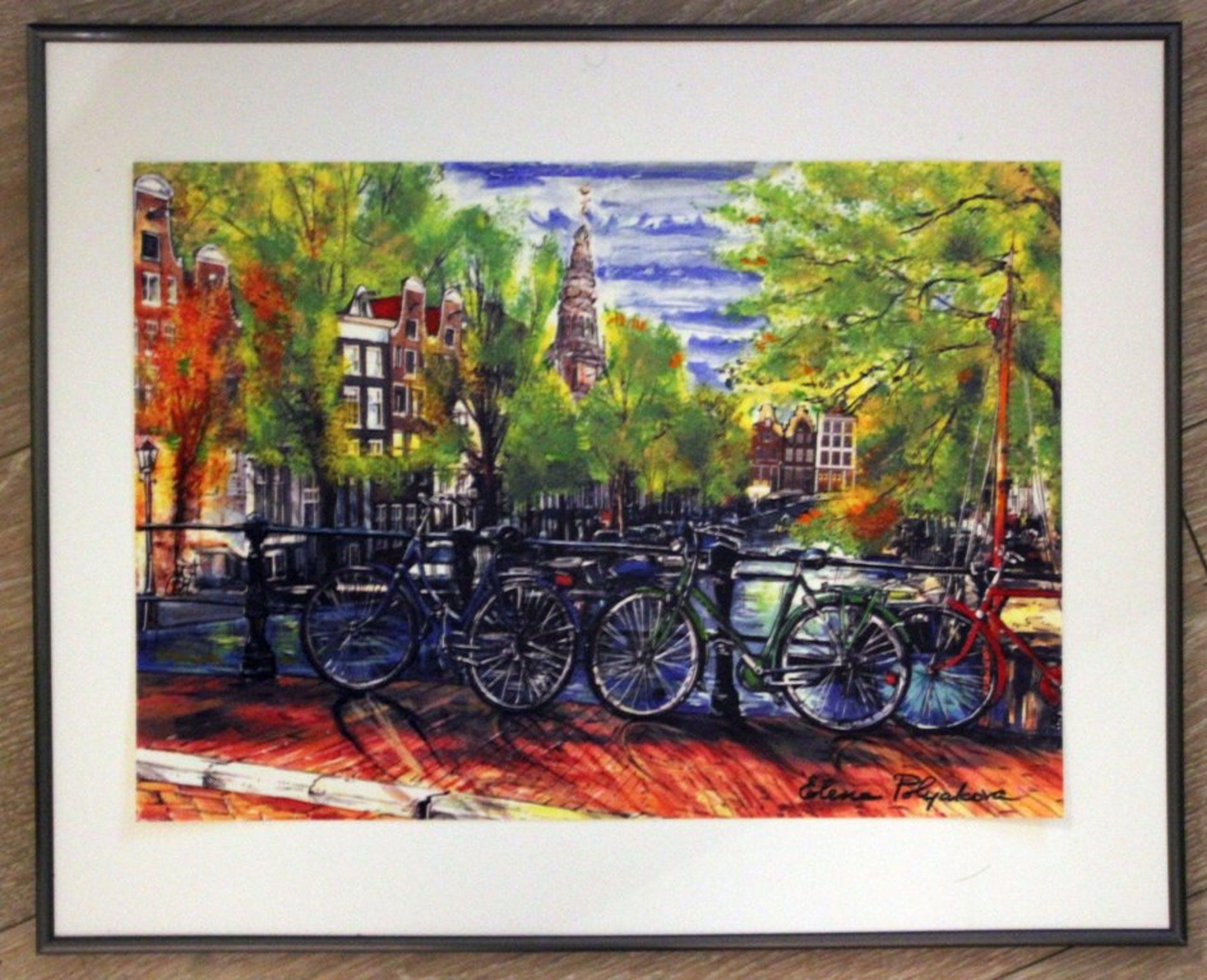 Elena Polyakova:  Een dag in  Amsterdam, Gemengde techniek kopen? Bied vanaf 75!