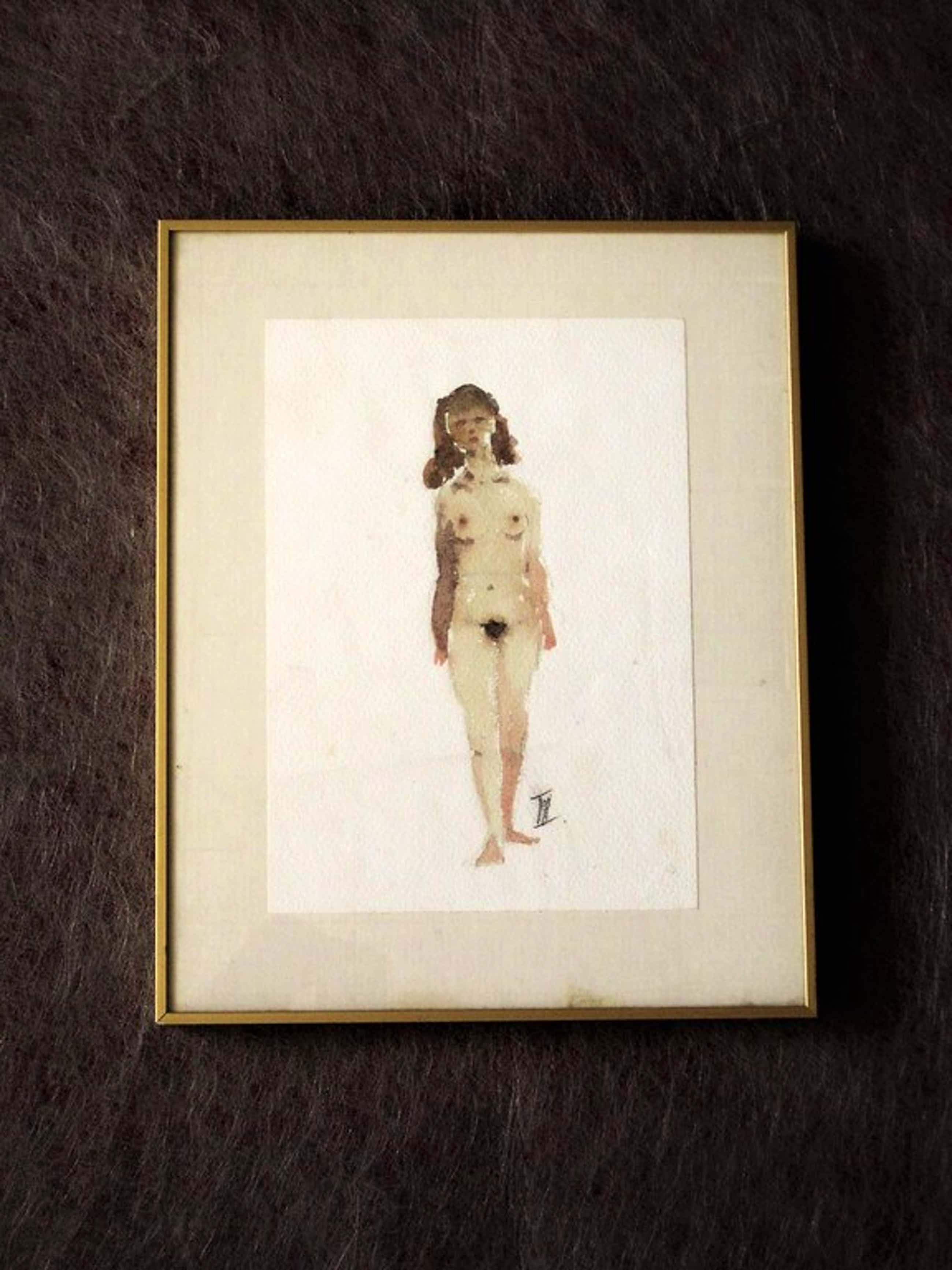 """Speciale """"voor Sam Middleton"""" aquarel """"vrouwelijk naakt van Theo Beerendonk  kopen? Bied vanaf 60!"""